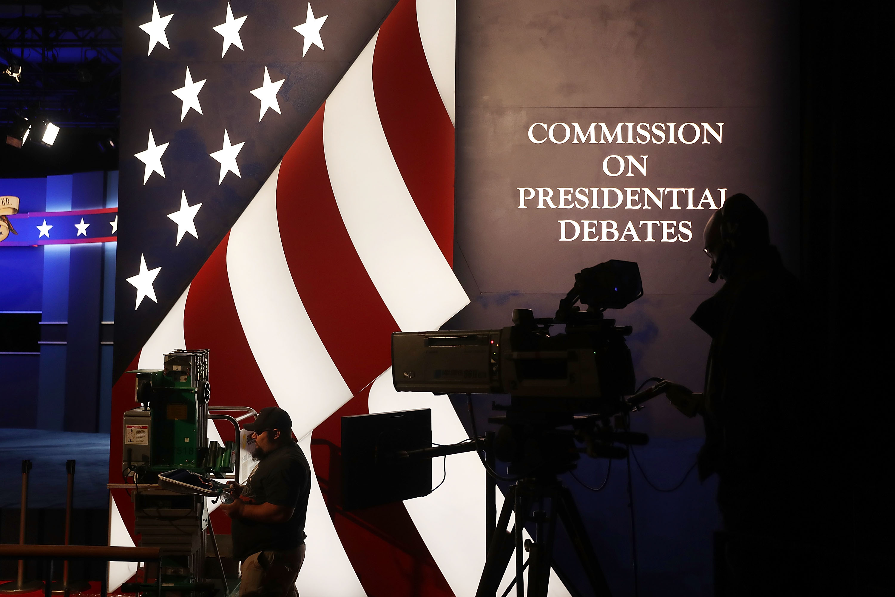 Final preparations are made on the set for the vice presidential debate scheduled to be held at Longwood University.