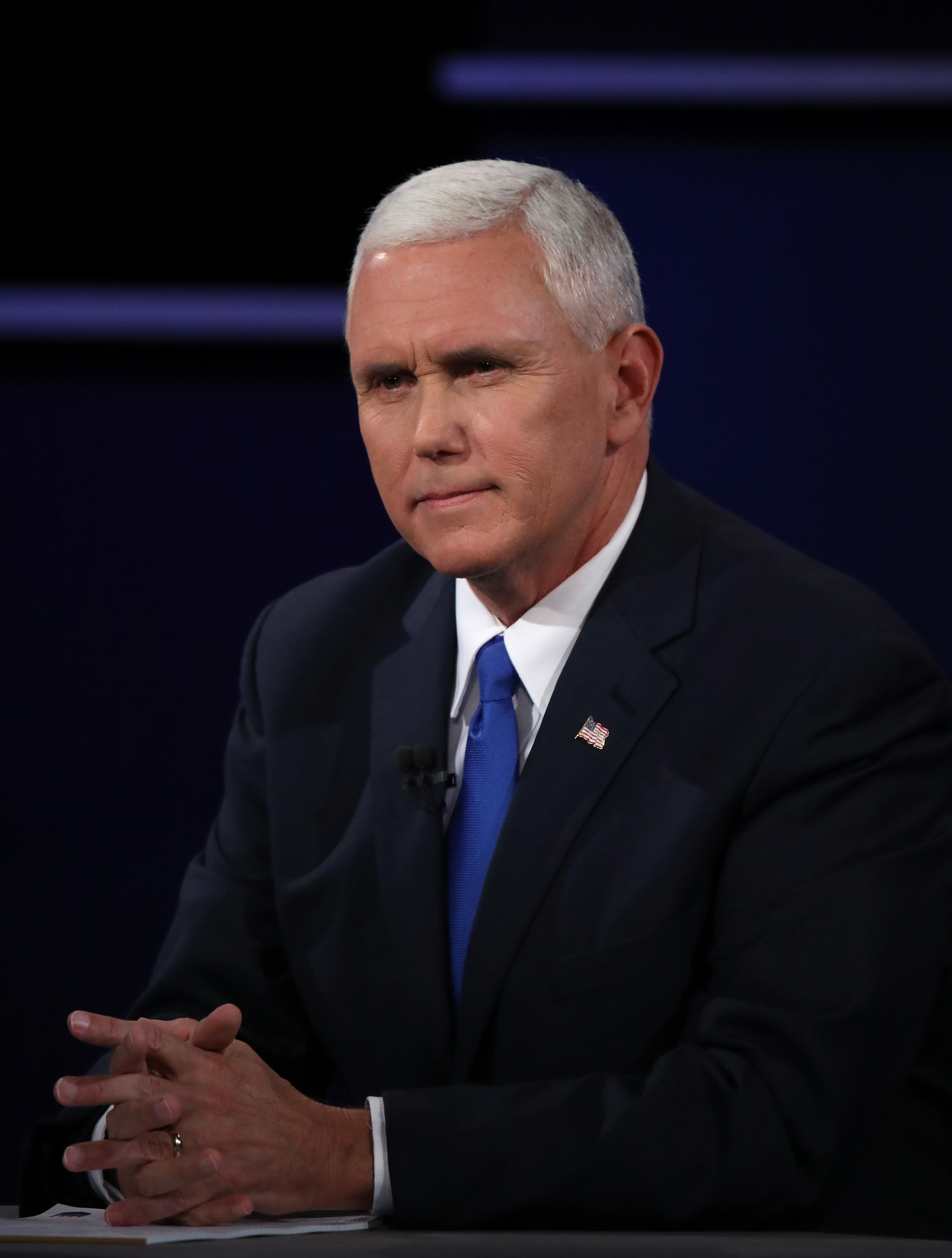 Republican vice presidential candidate Mike Pence at the debate.