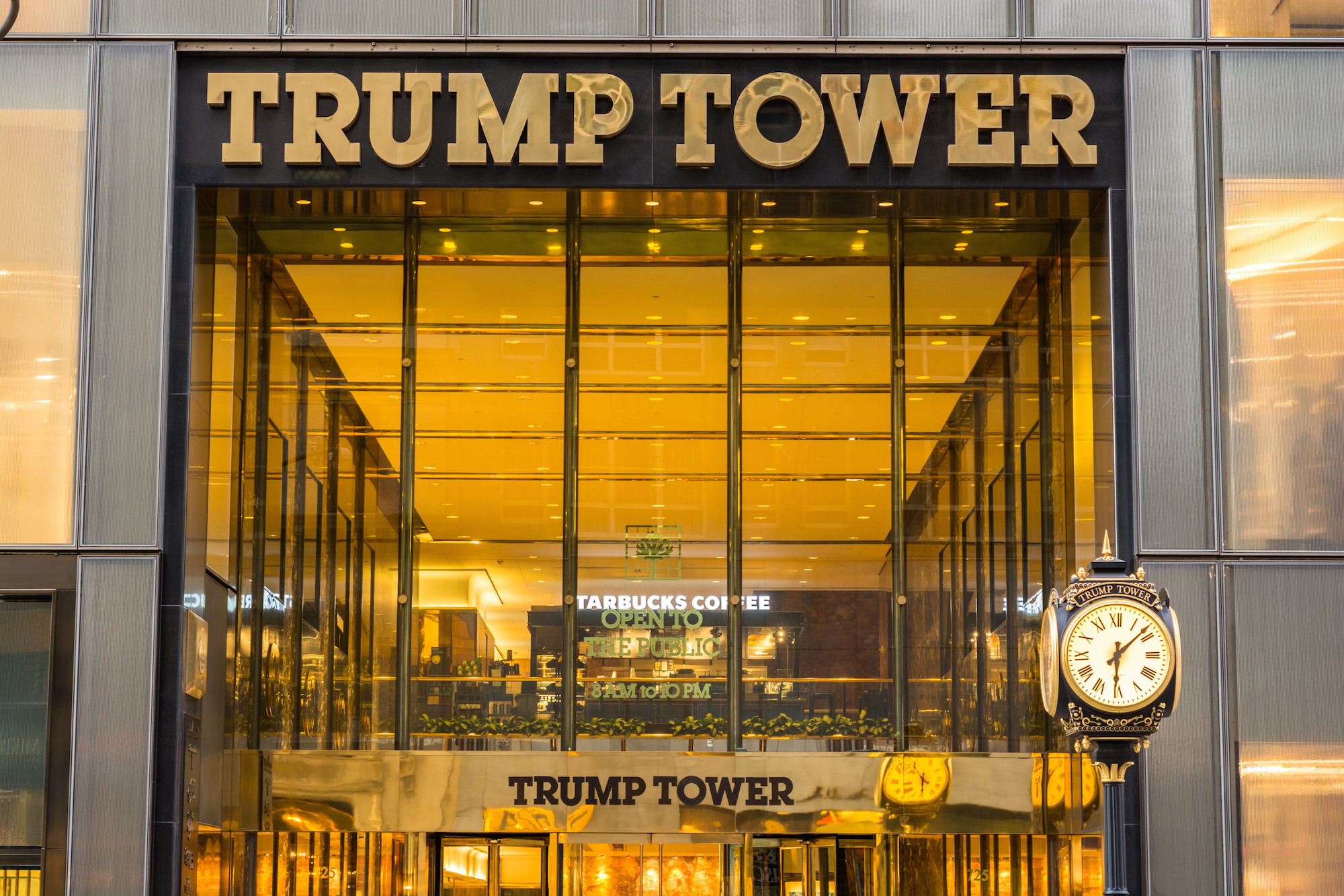 The sign of Trump Tower in NYC