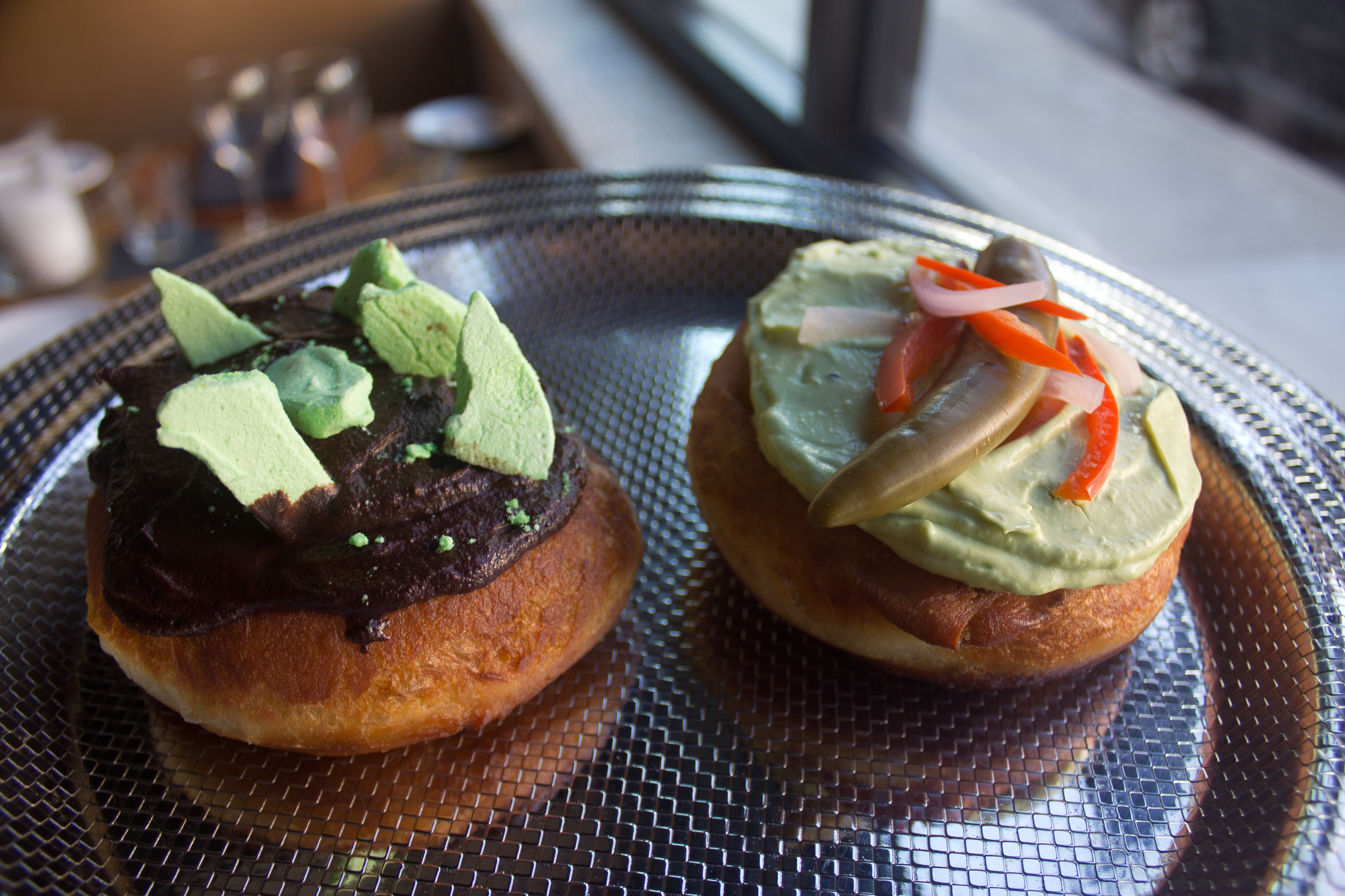 Back Dough's chocolate thick mint and pulled pork doughnuts