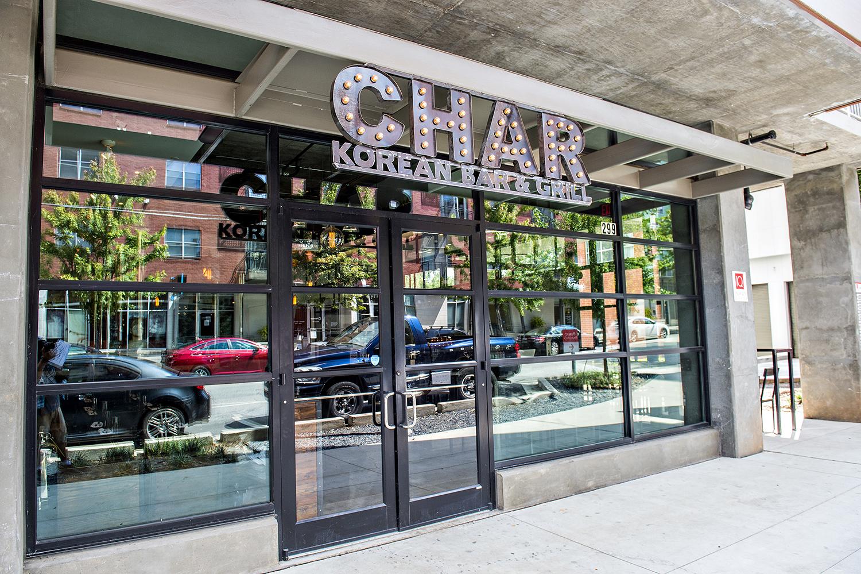 Exterior signage at Char Korean Bar & Grill.