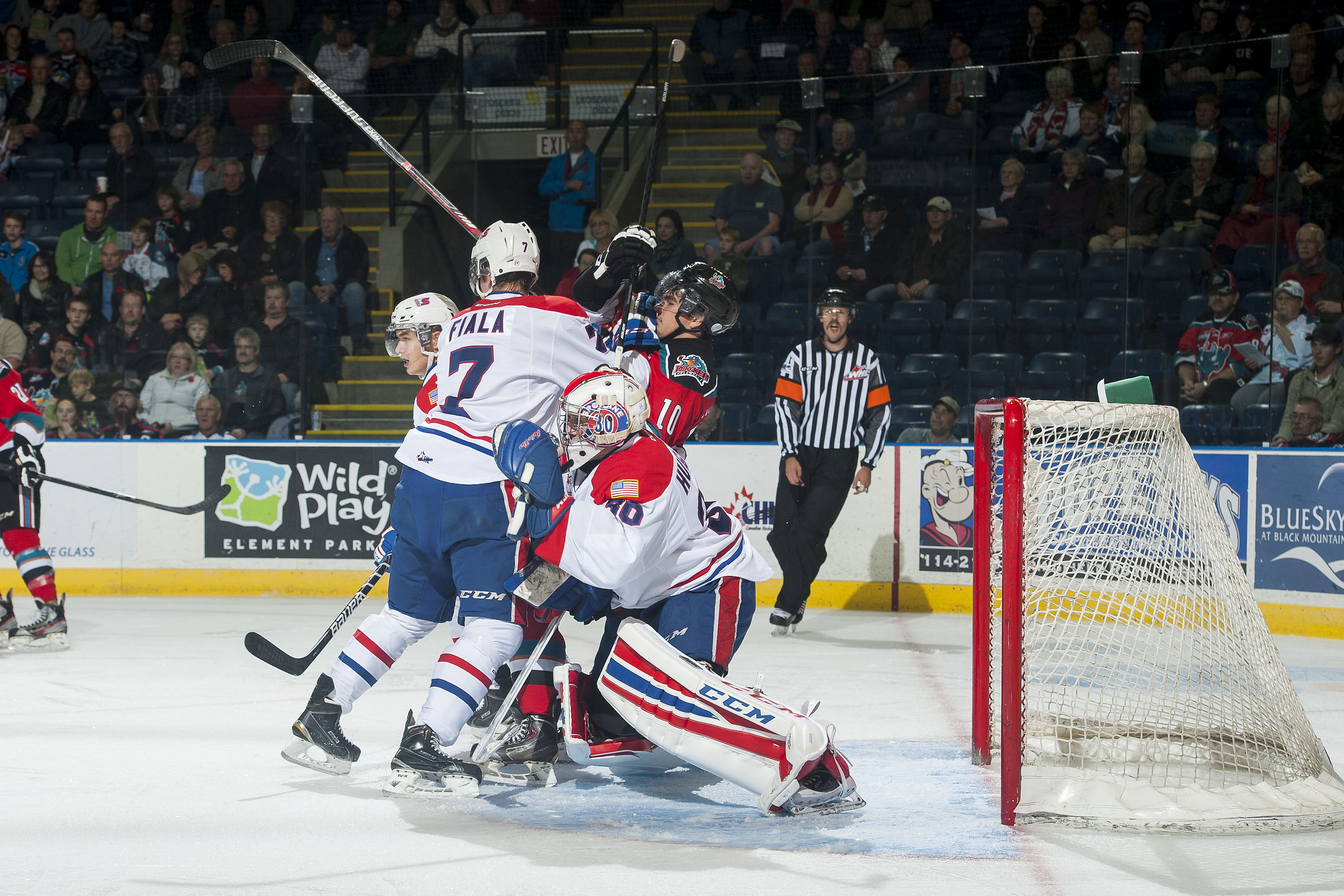 Evan Fiala dropped the mitts in Saturday's loss to Victoria.
