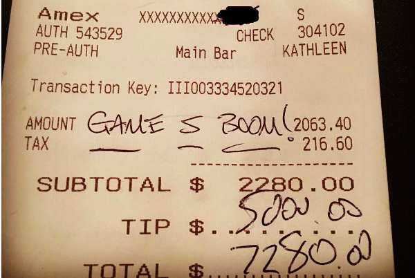 A receipt for $2,280 with a $5,000 tip.