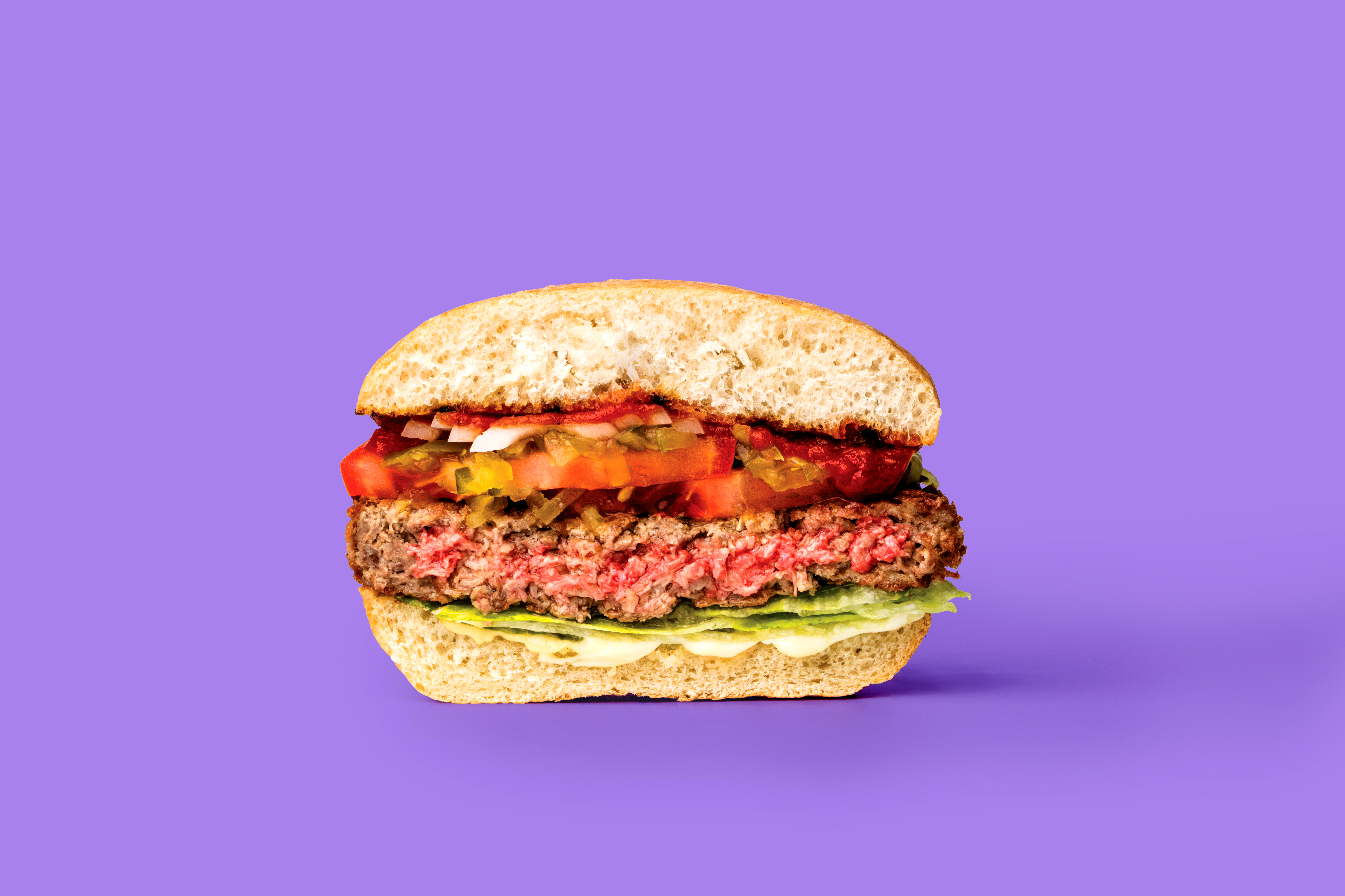 cross-section of a hamburger made with a meatless patty from Impossible Foods