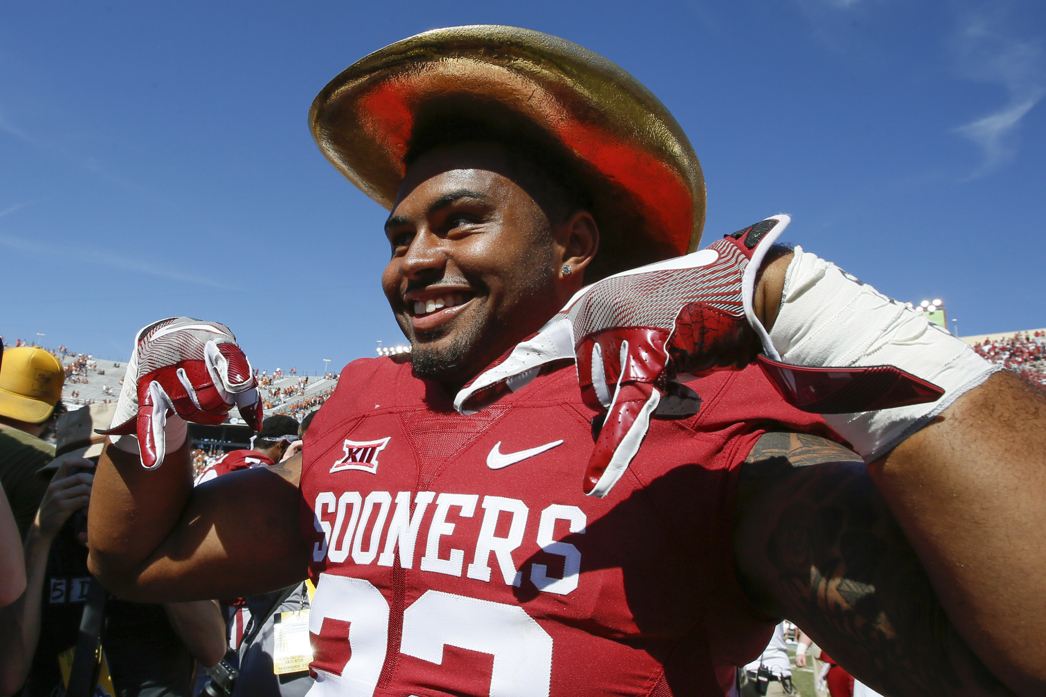 Bob Stoops refuses to wear the Golden Hat himself.  Probably a good call.