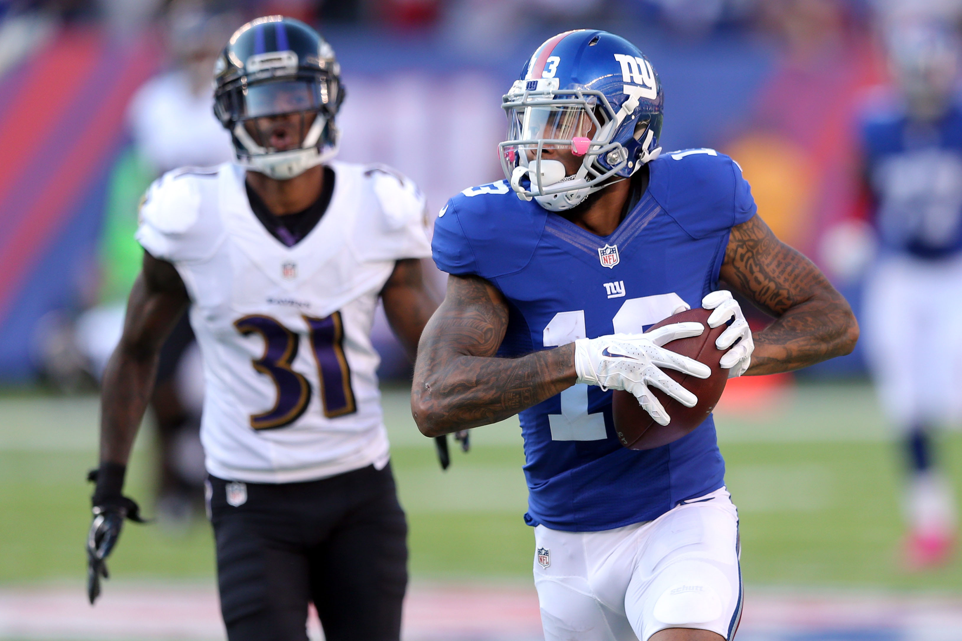 Odell Beckham en route to his game-winning touchdown on Sunday.