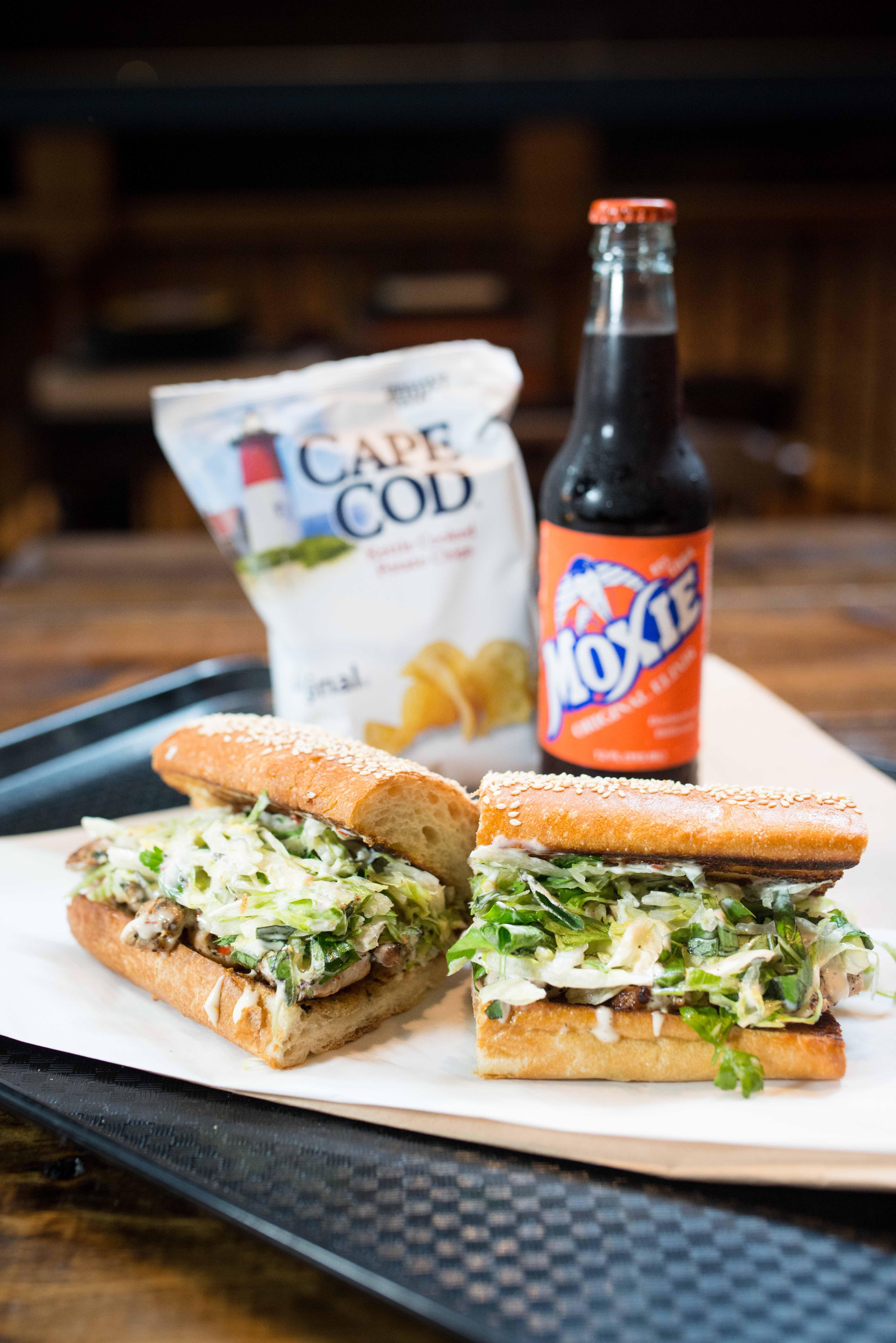 Ticonderoga Club's spiedie, with Moxie soda and Cape Cod chips.