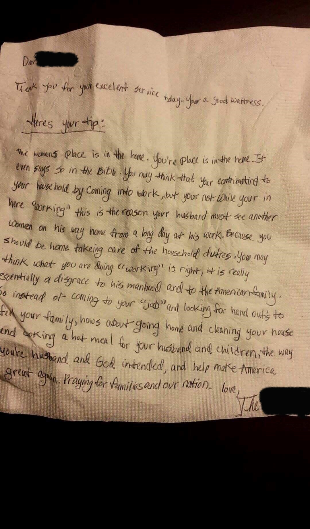 the note written on a napkin
