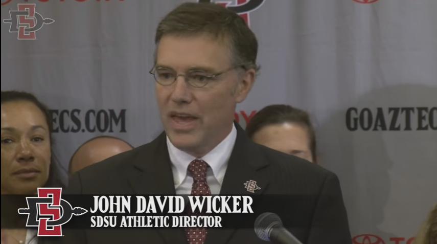 SDSU AD John David Wicker at Monday's press conference.
