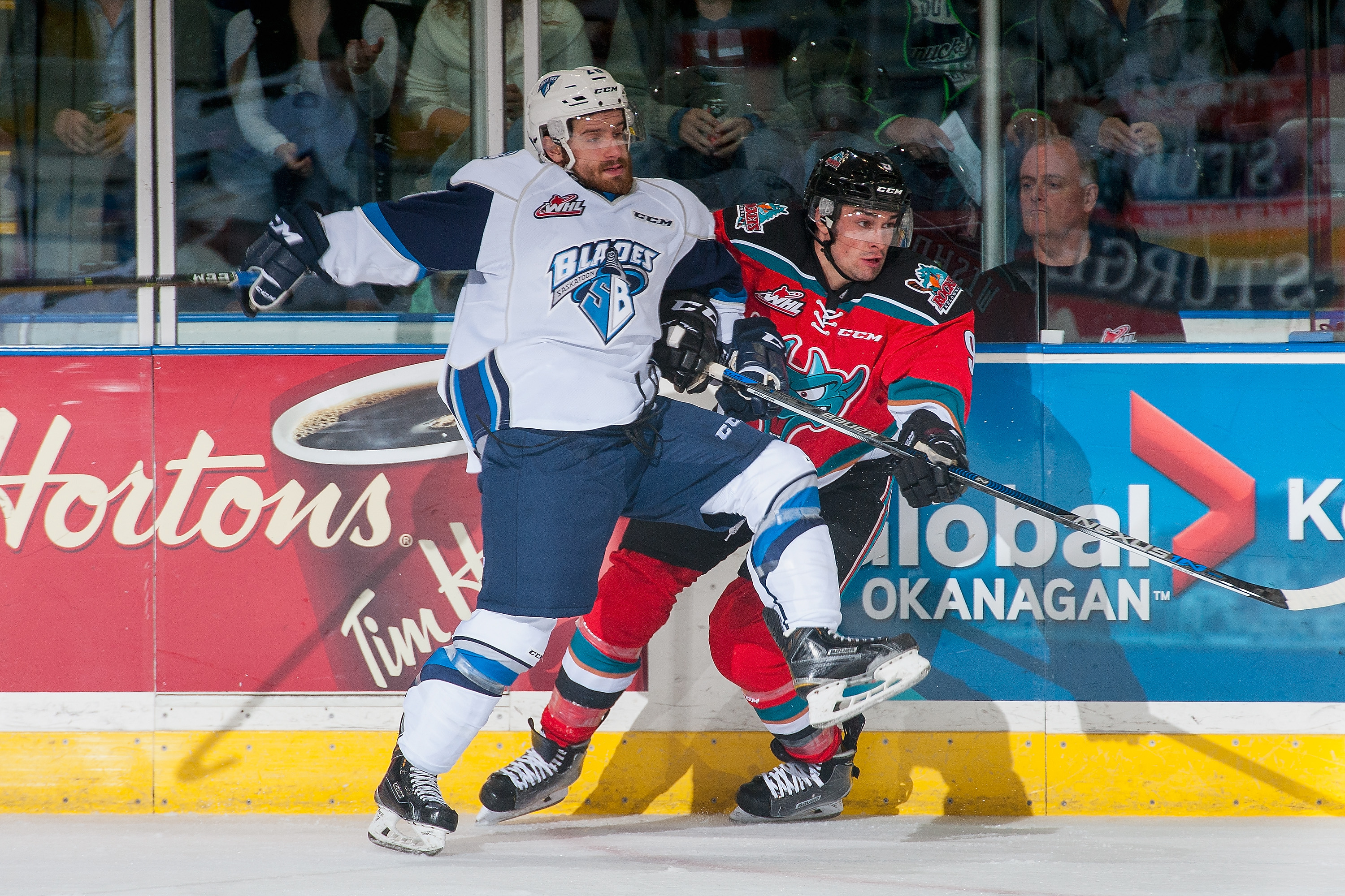 Tanner Wishnowski (right) was traded to Spokane from Kelowna and made an immediate impact.