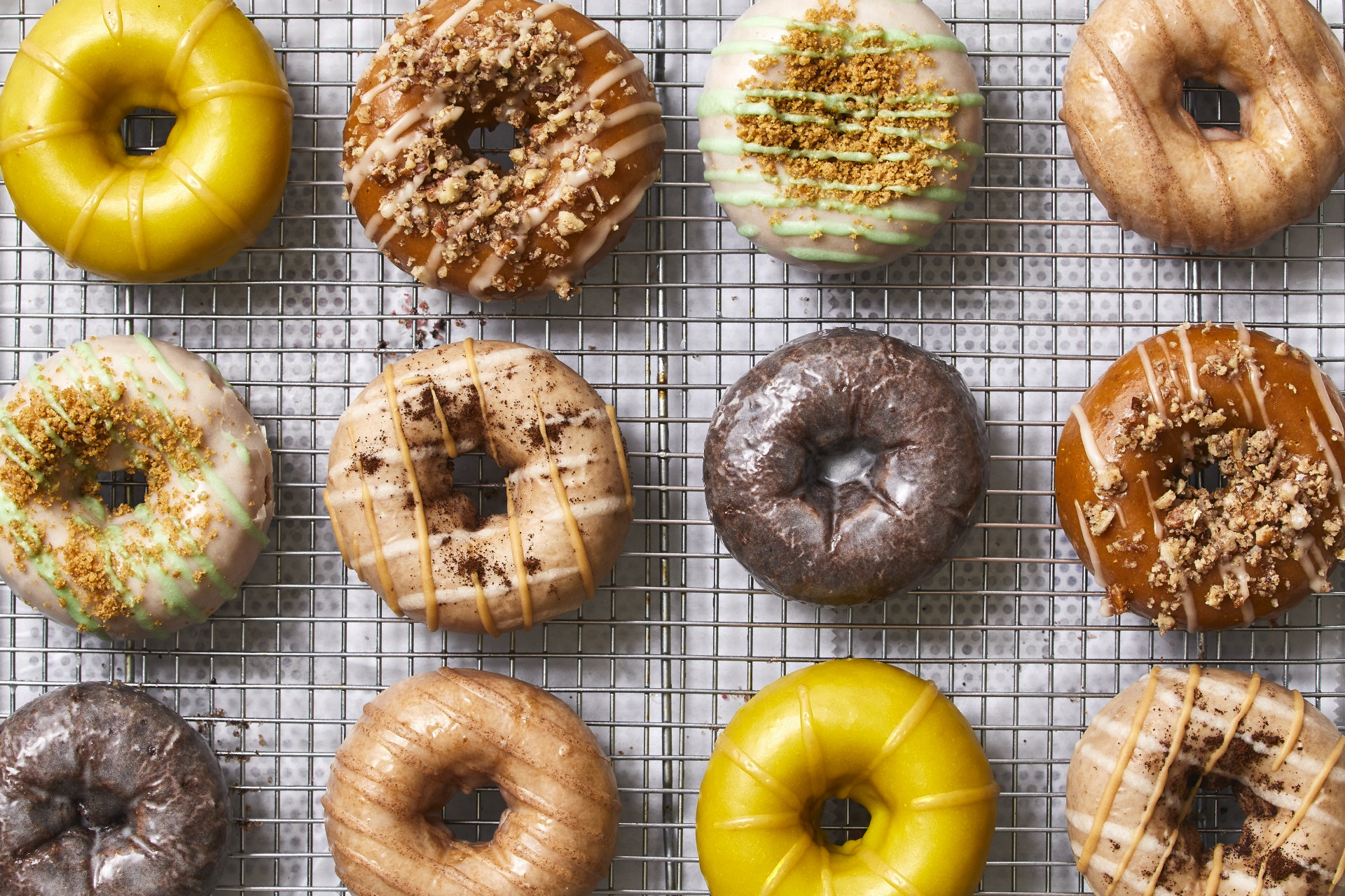 rows of colorful doughnuts