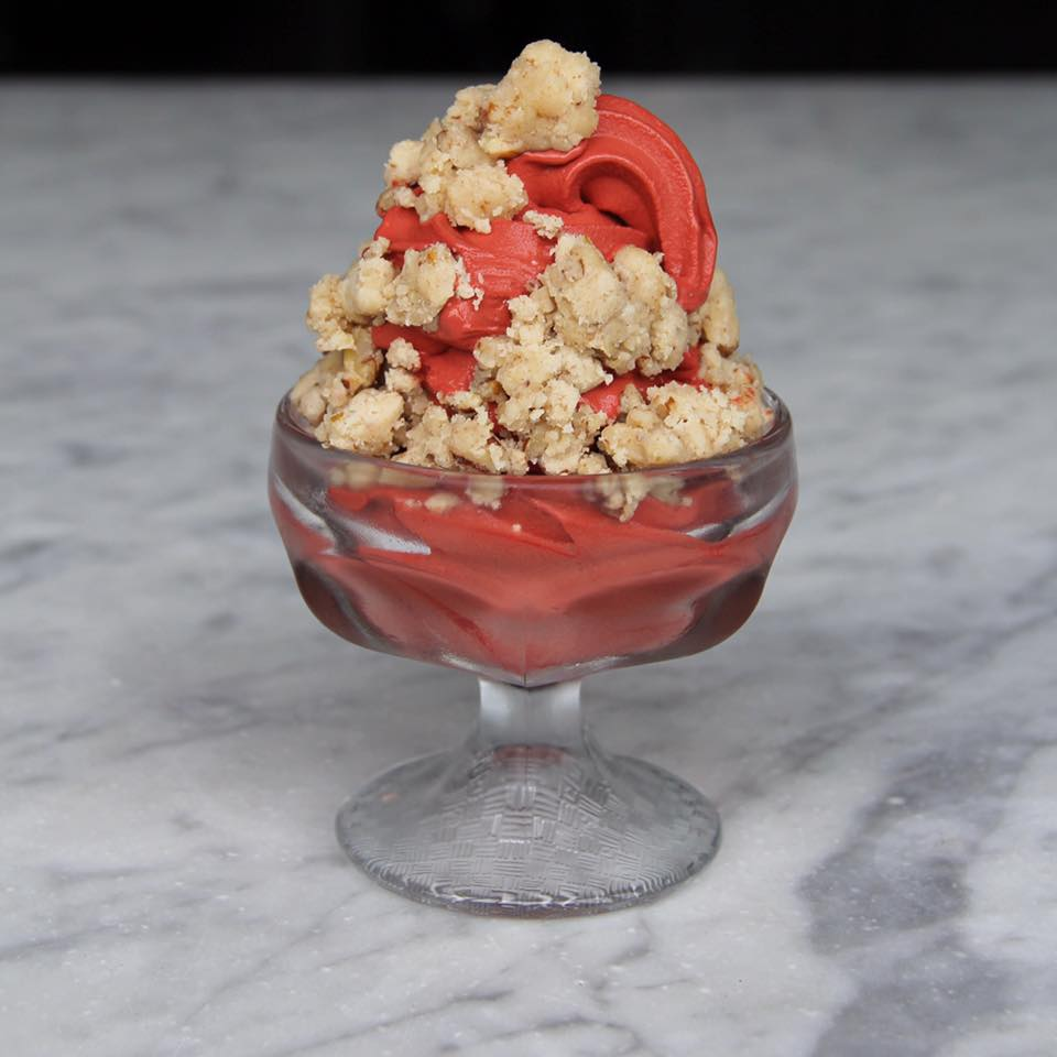 Red velvet soft serve with salted pecan crumble at Public House