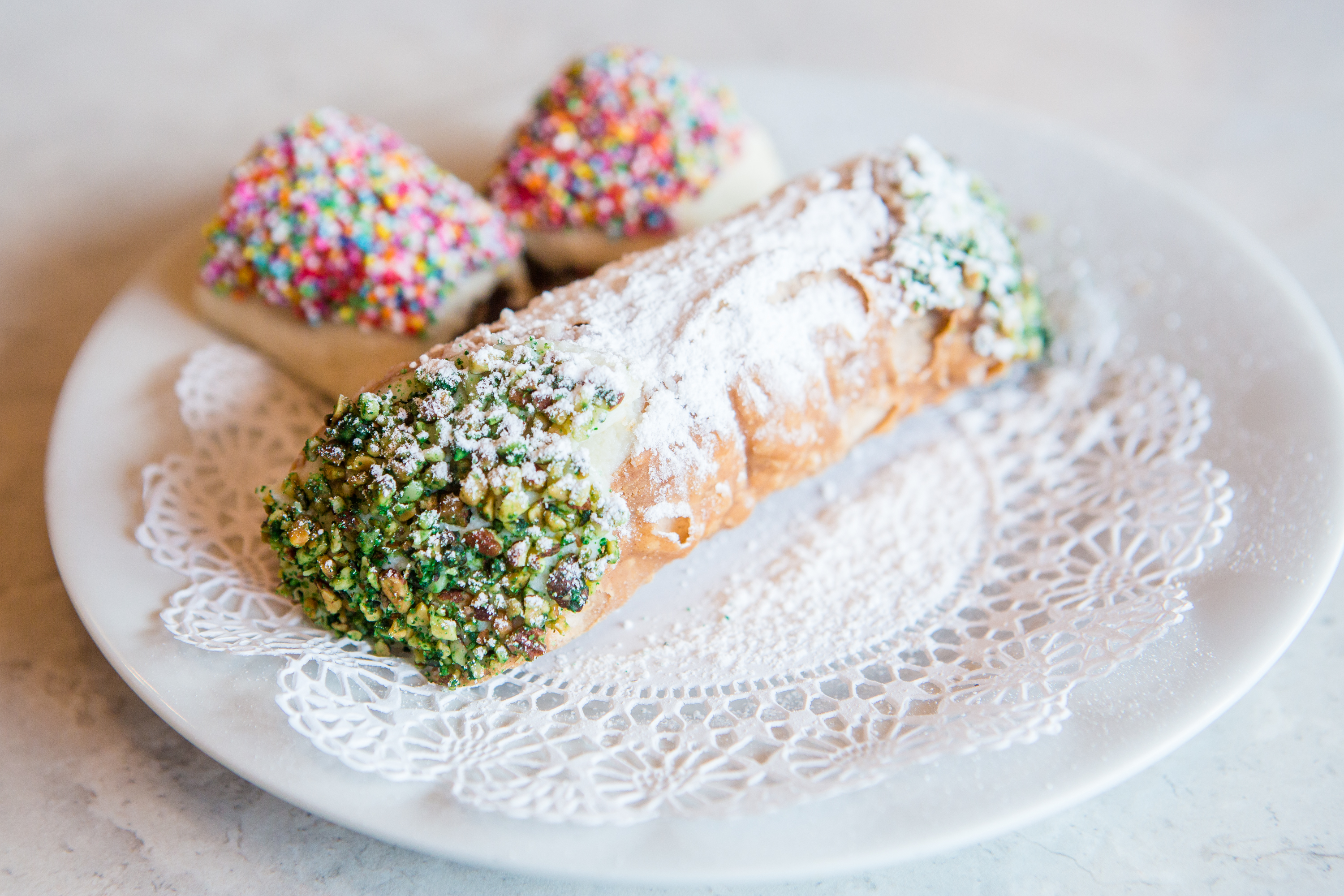 Cannoli and fig cookies at Angelo Brocato's