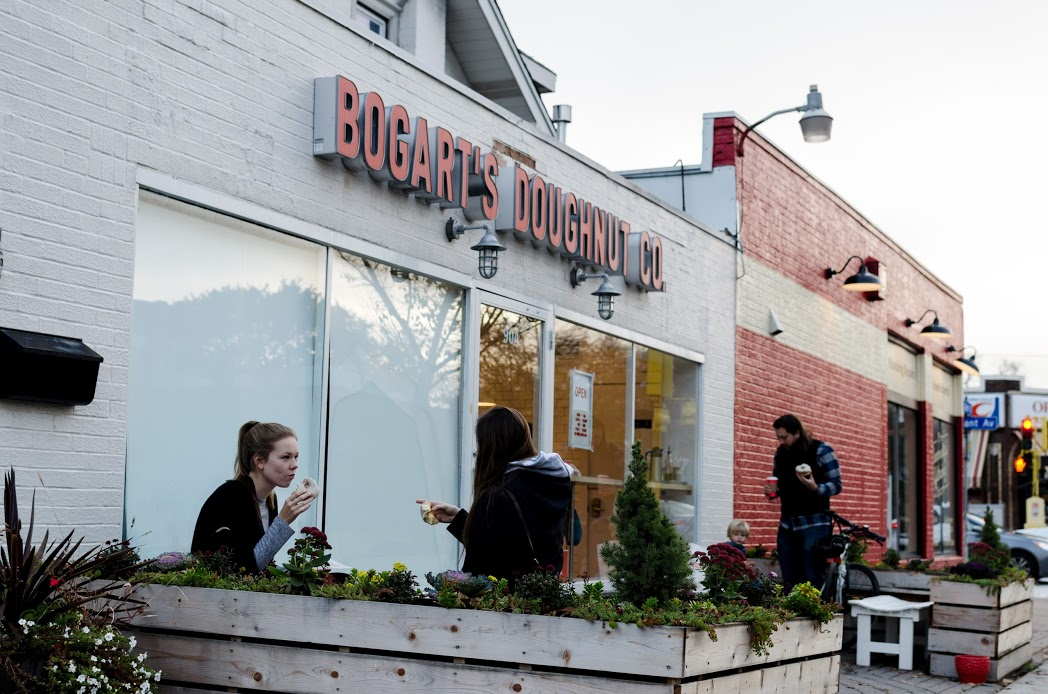 Stopping by Bogart's Doughnuts on a cool autumn morning.