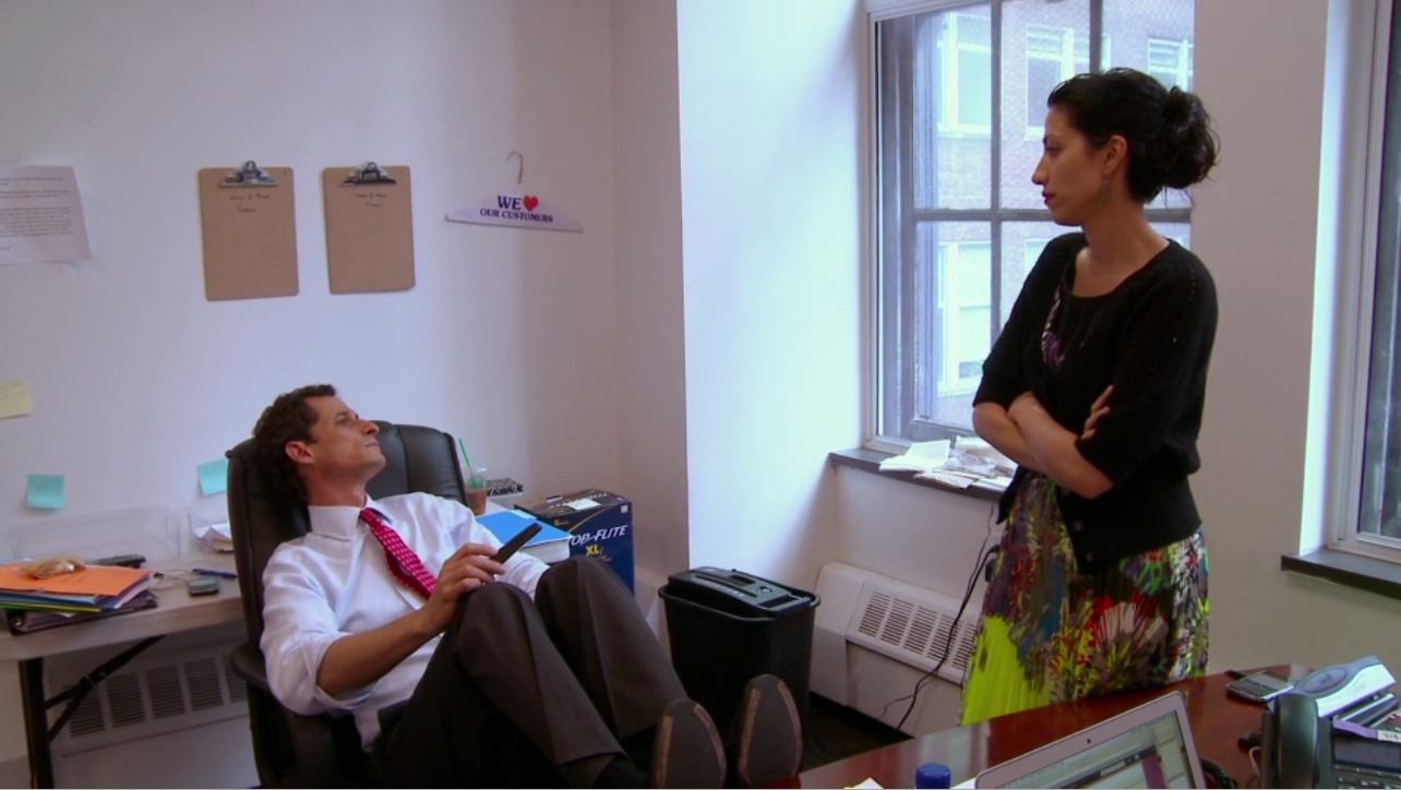 Anthony Weiner and Huma Abedin react to news of a second sexting scandal, in Weiner