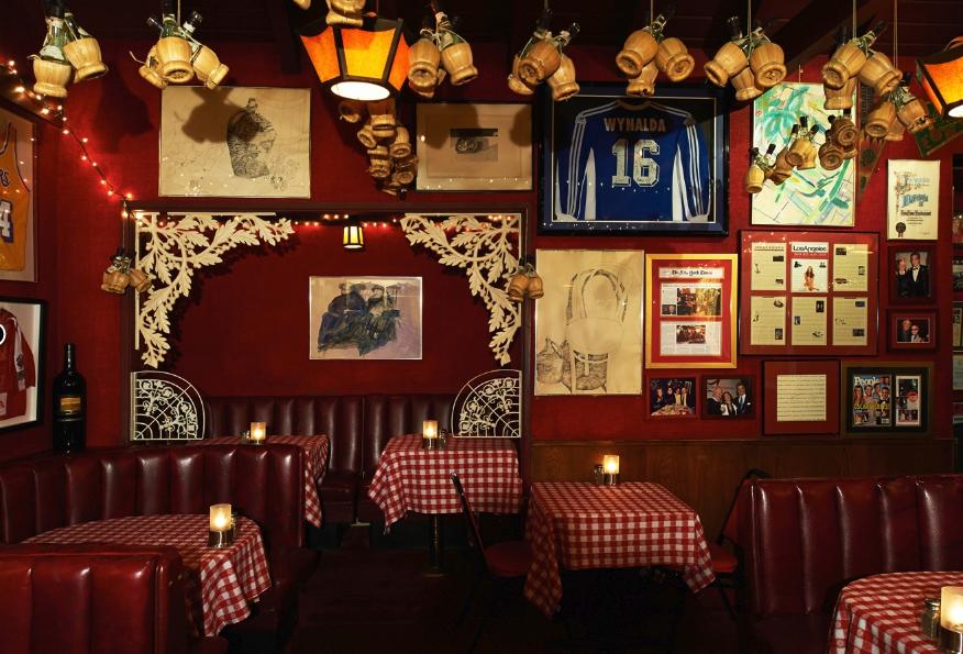Dining room at Dan Tana's restaurant in West Hollywood, California