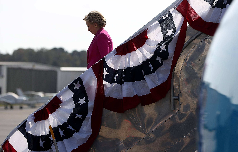 Hillary Clinton arrives at Pitt-Greenville Airport in Greenville, North Carolina.