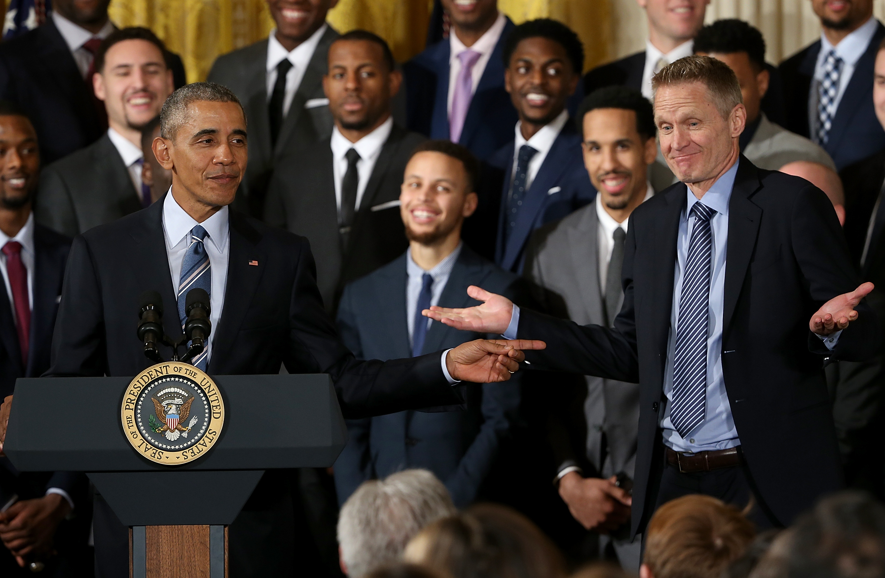 Obama Welcomes 2015 NBA Champion Golden State Warriors To White House
