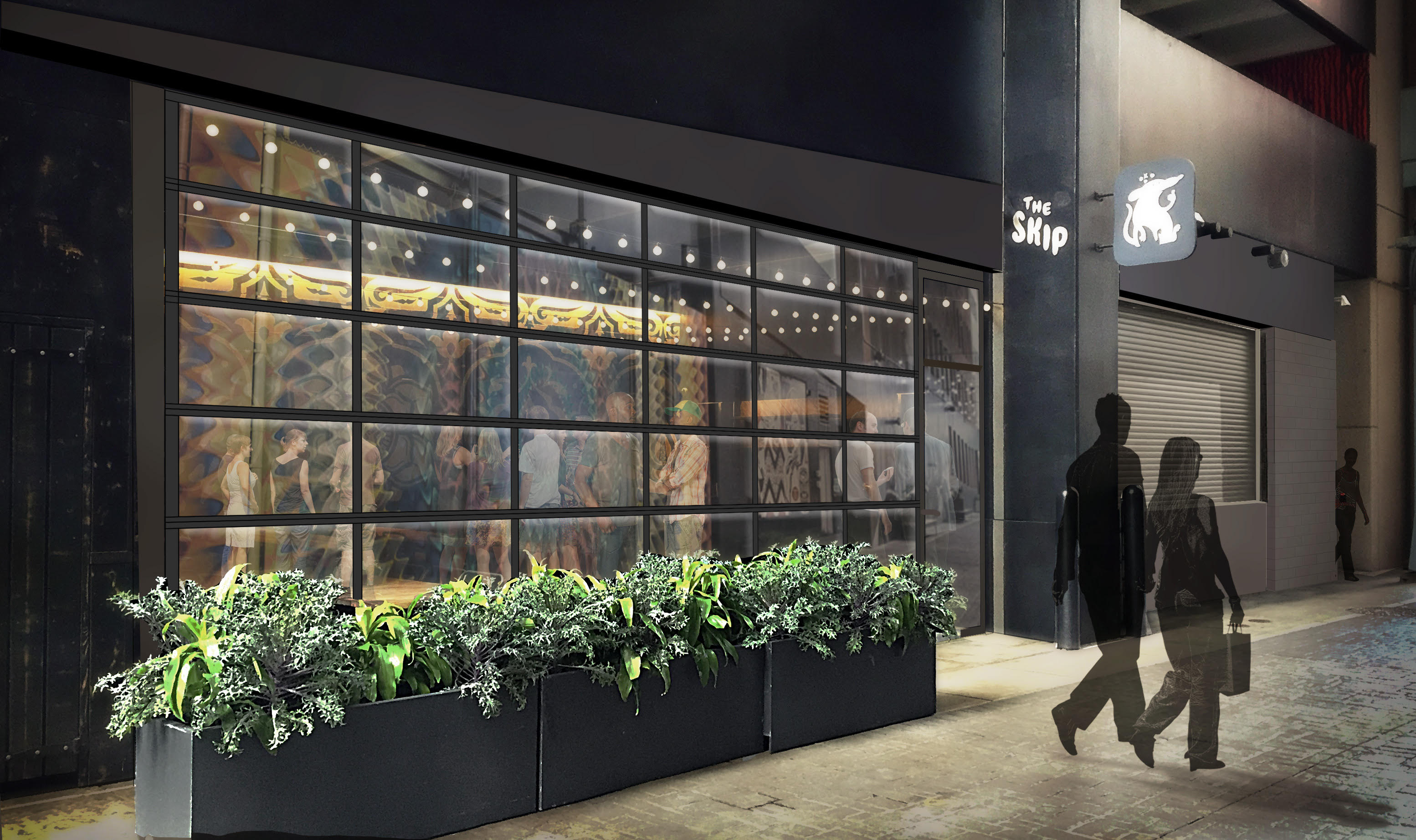 A rendering of The Skip's glass nanawall.