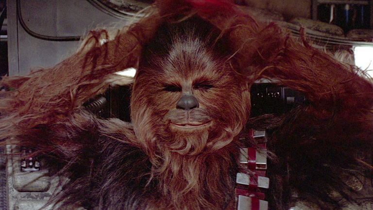 Watch Chewbacca talk to Han in The Empire Strikes Back using a thick, British accent