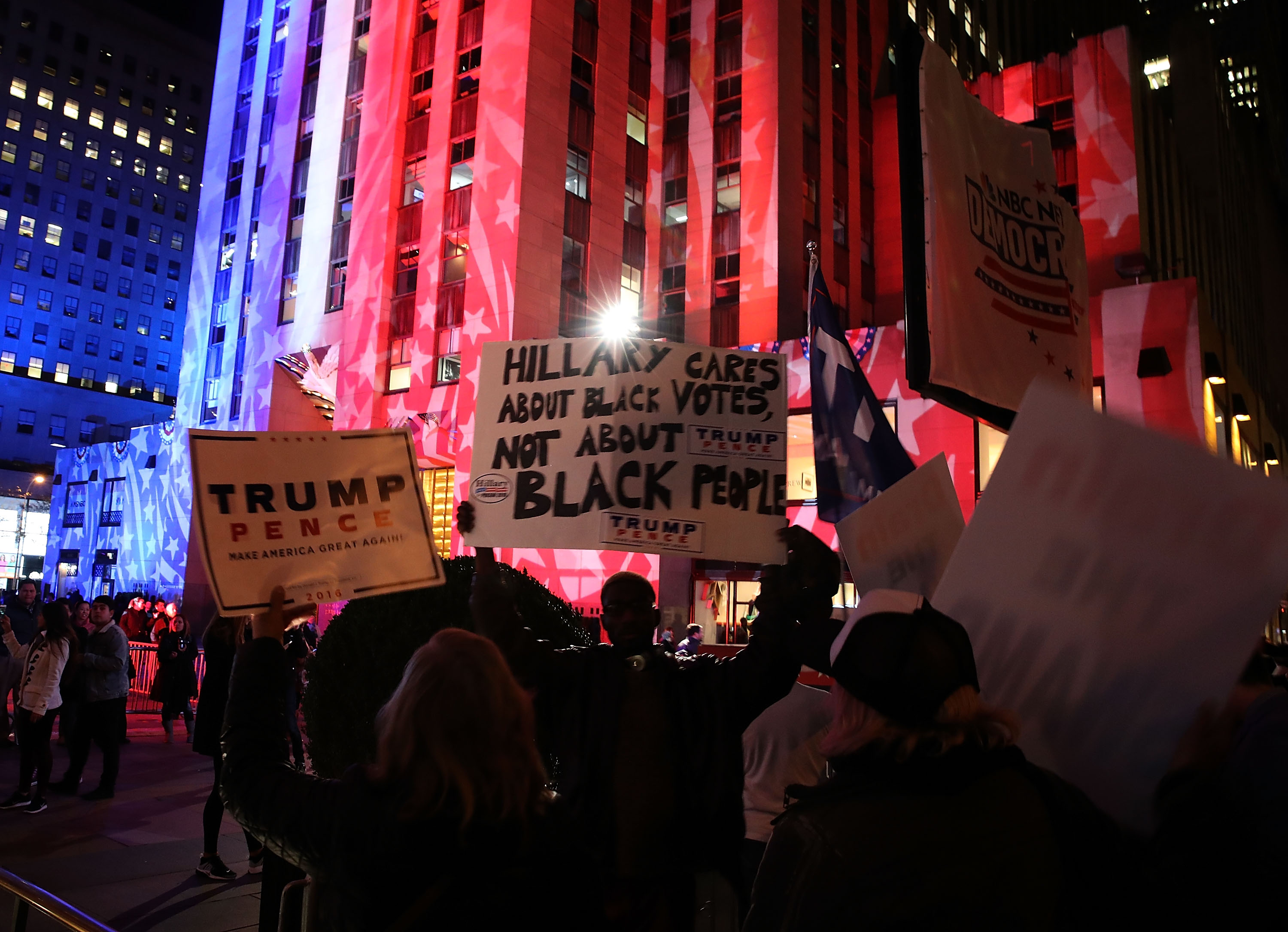 New York's Rockefeller Center Is Illuminated In Red, White, And Blue On Eve Of Election