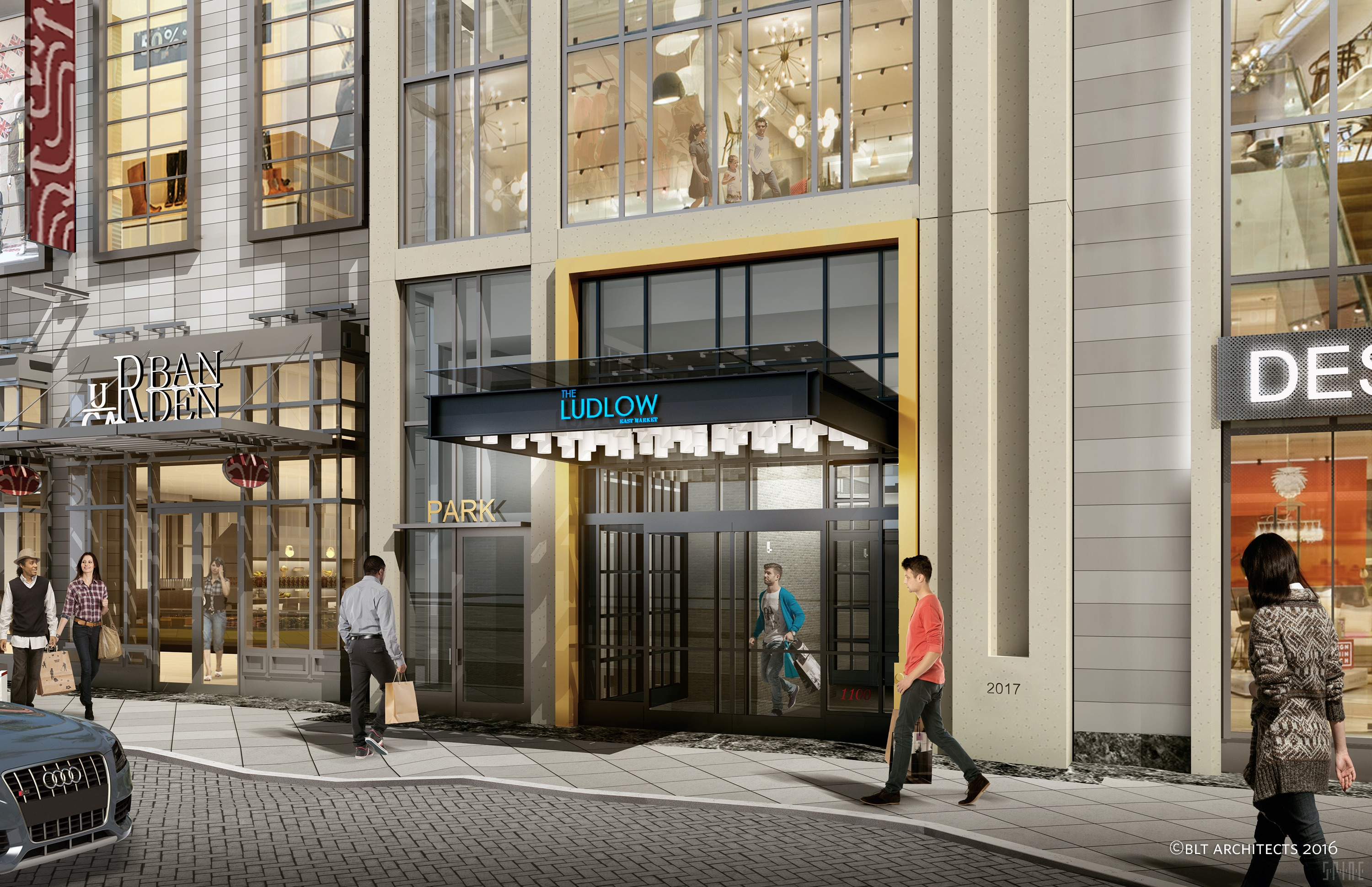 A rendering of the entrance to Ludlow, a residential apartment building in Philadelphia.