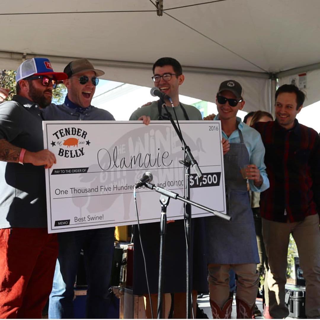 Olamaie's winning check
