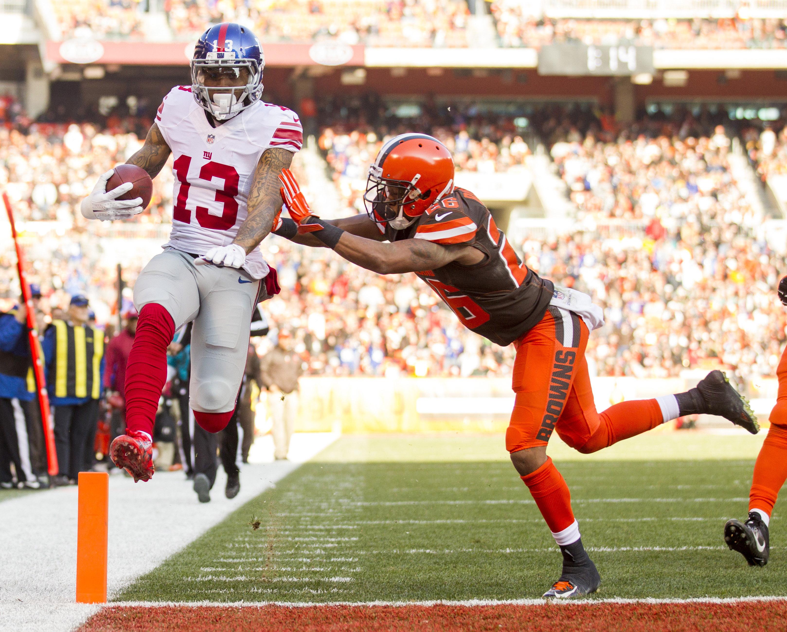 Odell Beckham Jr. scores a first-half touchdown.