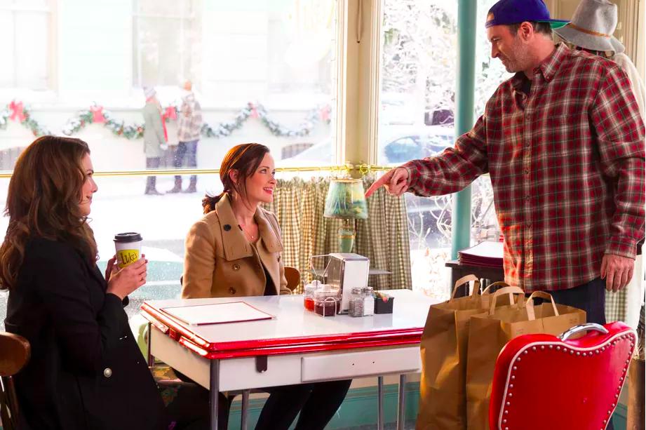 Rory, Lorelai, and Luke at Luke's Diner