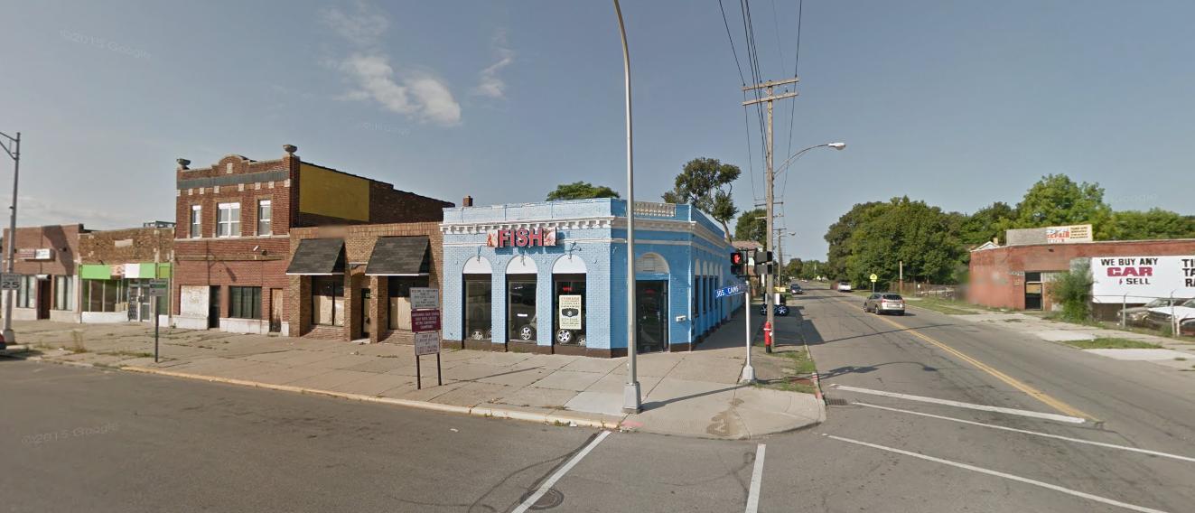 blue corner building