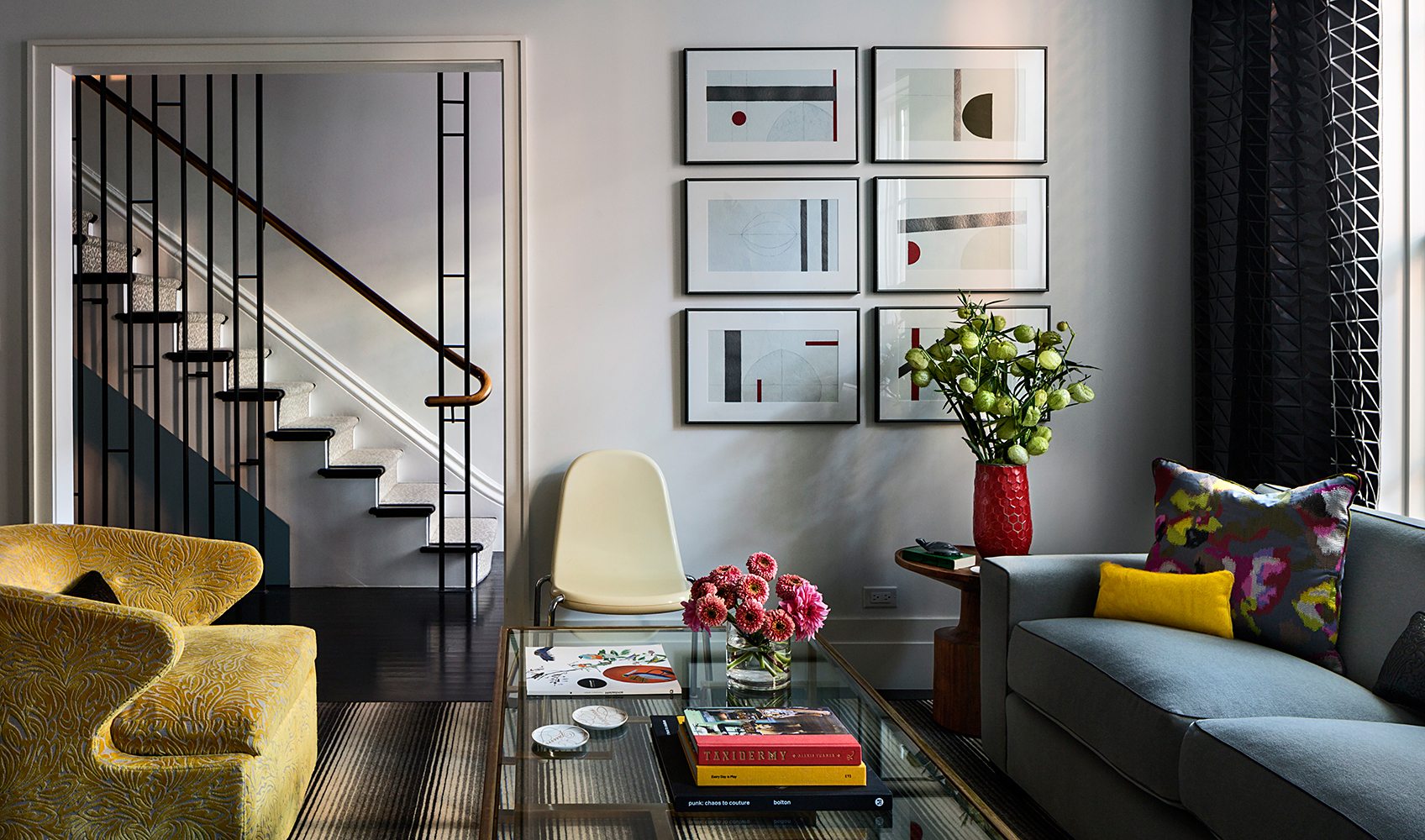 Gray used as a neutral backdrop in a Brooklyn row house.