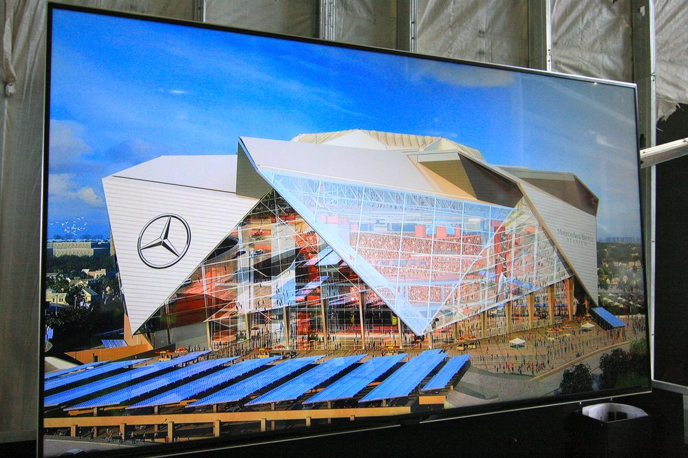 A rendering of the finished Atlanta Falcons stadium.