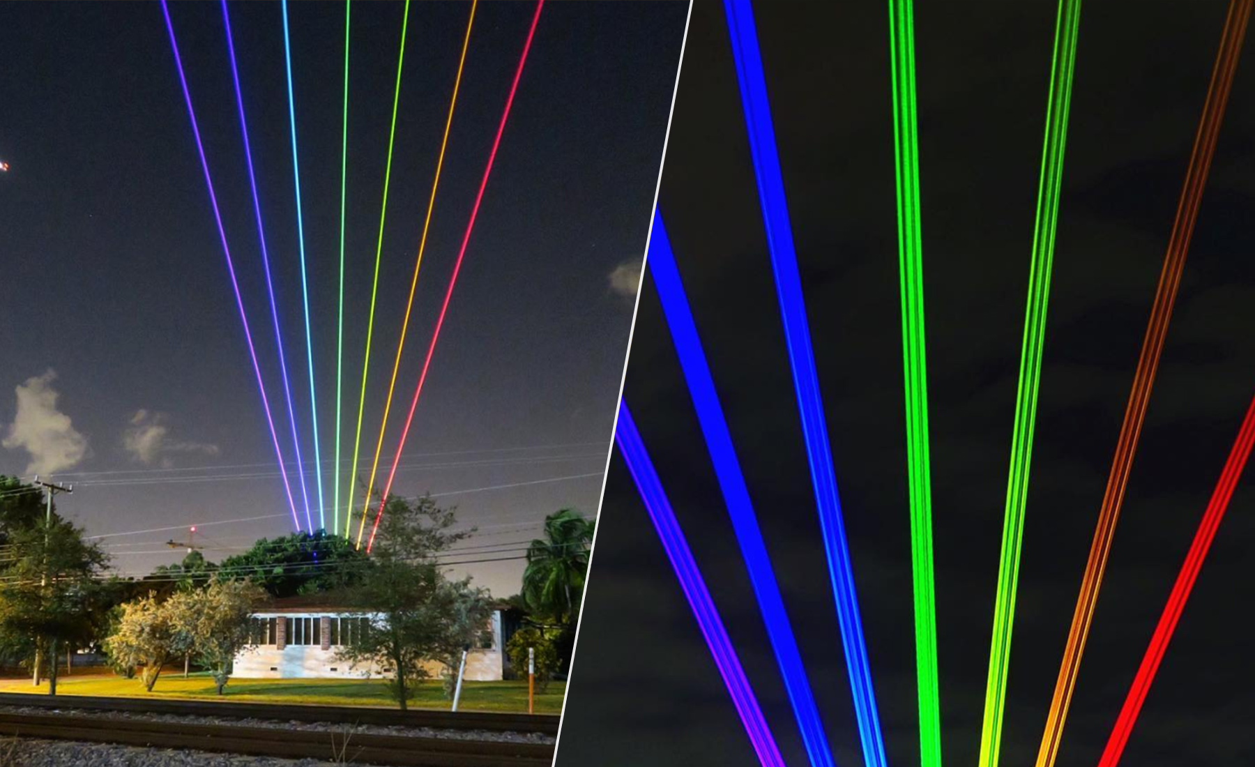A beautiful rainbow art light beam installation from Miami Beach, which can be seen from tens of miles away.