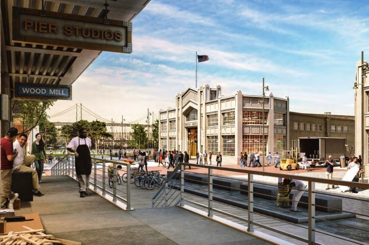 A rendering of Pier 48 as it would appear after redevelopment.