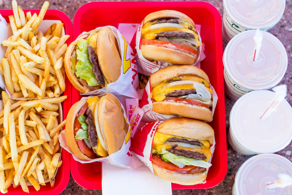 Burgers, fries, and drinks from In-N-Out Burger.