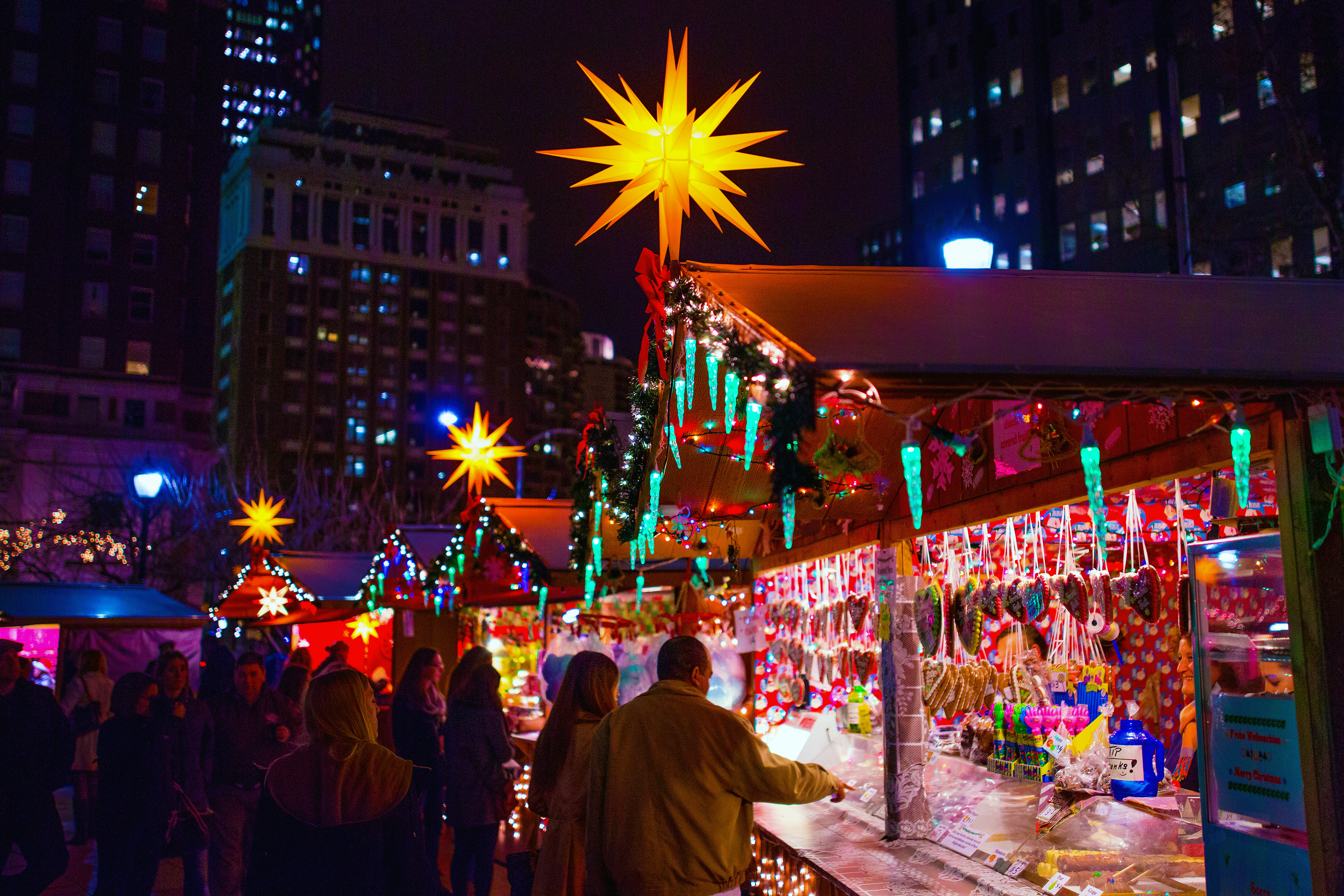 Each holiday season, Philadelphia's Love Park is transformed into a traditional German Christmas Village, where more than 90 merchants sell holiday decor and gifts, toys, clothing, jewelry, artwork and crafts. Shoppers can nibble on European-style seasona