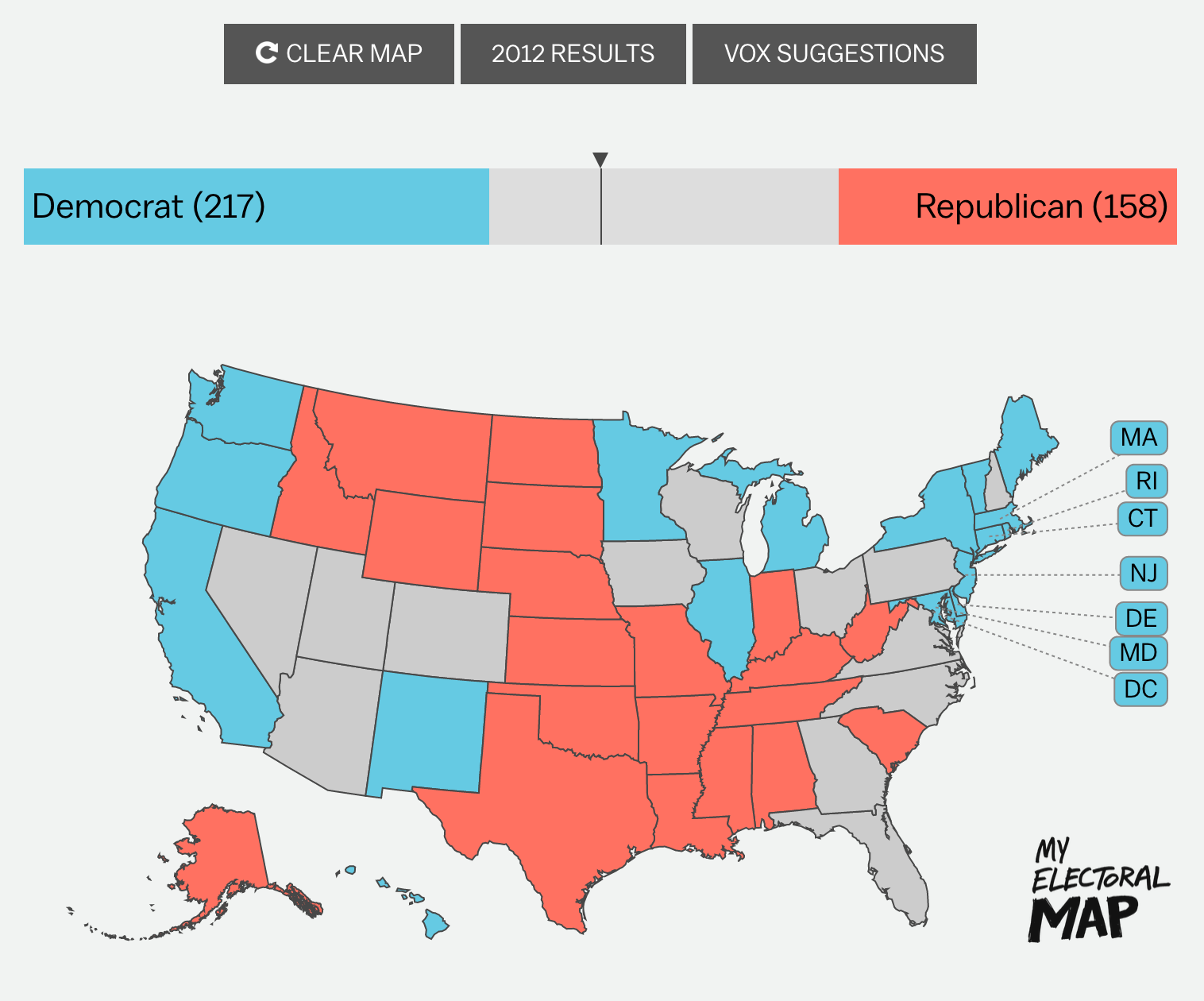 """A screenshot from """"Make your election result predictions."""""""