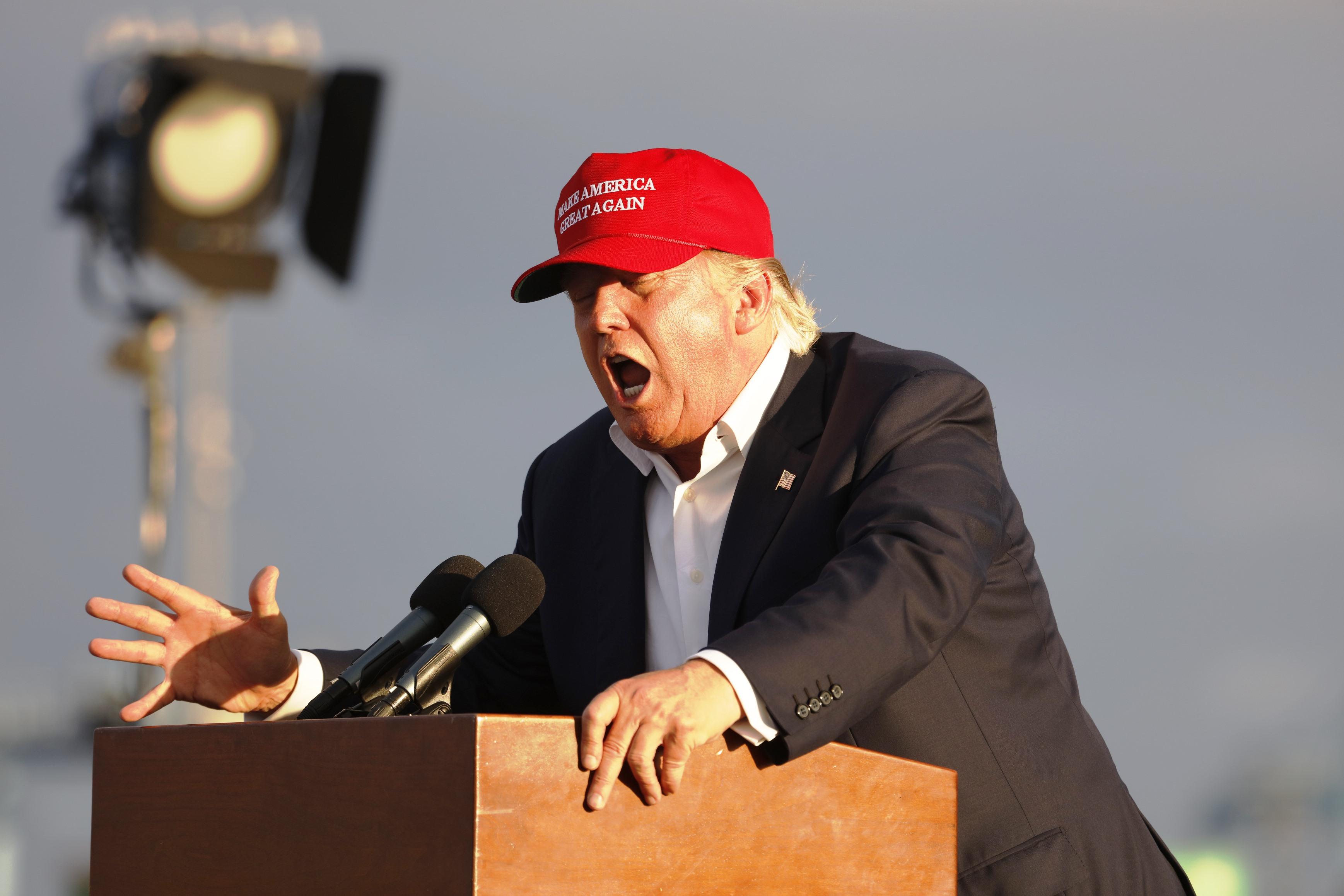 Donald Trump making a speech.