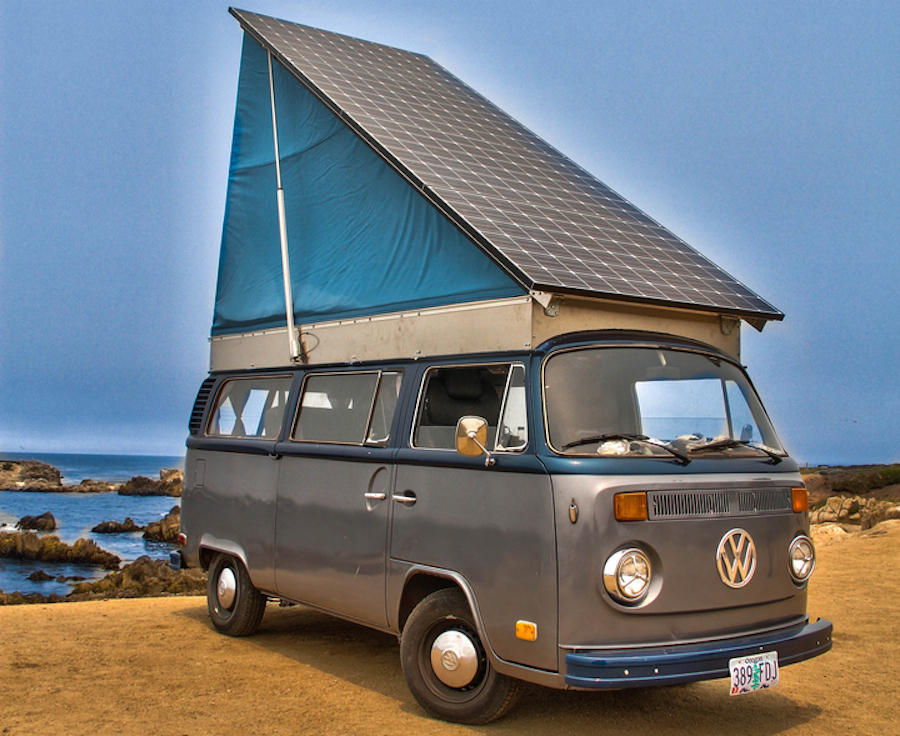 Vintage Volkswagen bus converted into solar electric camper