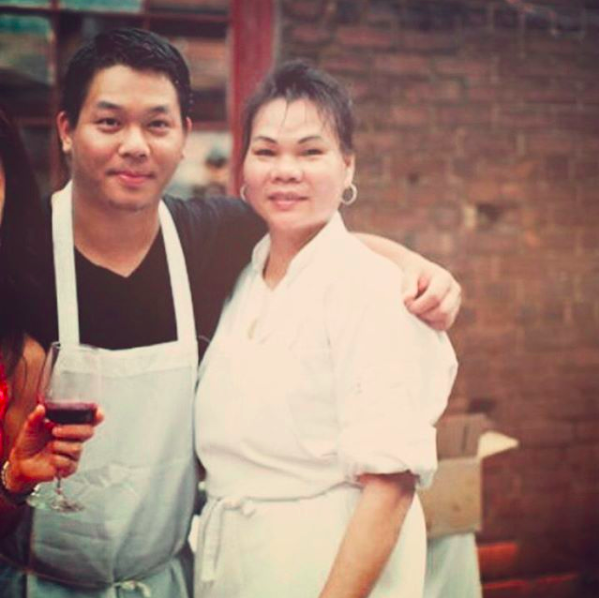 Guy Wong and his mother.