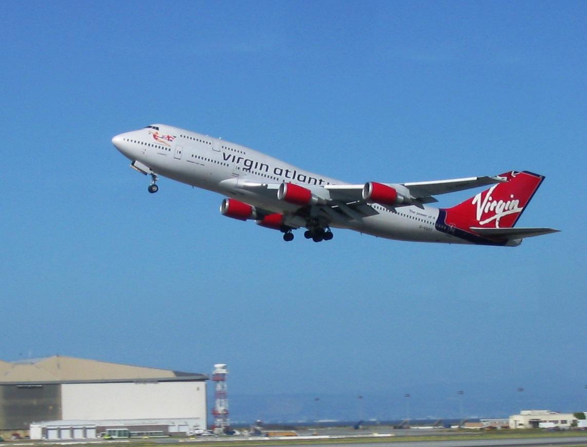 A Boeing jet departing San Francisco International Airport.
