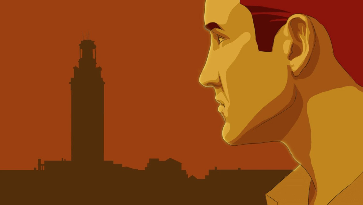 Animated frame of a man looking at silhouette of UT Main Building Tower