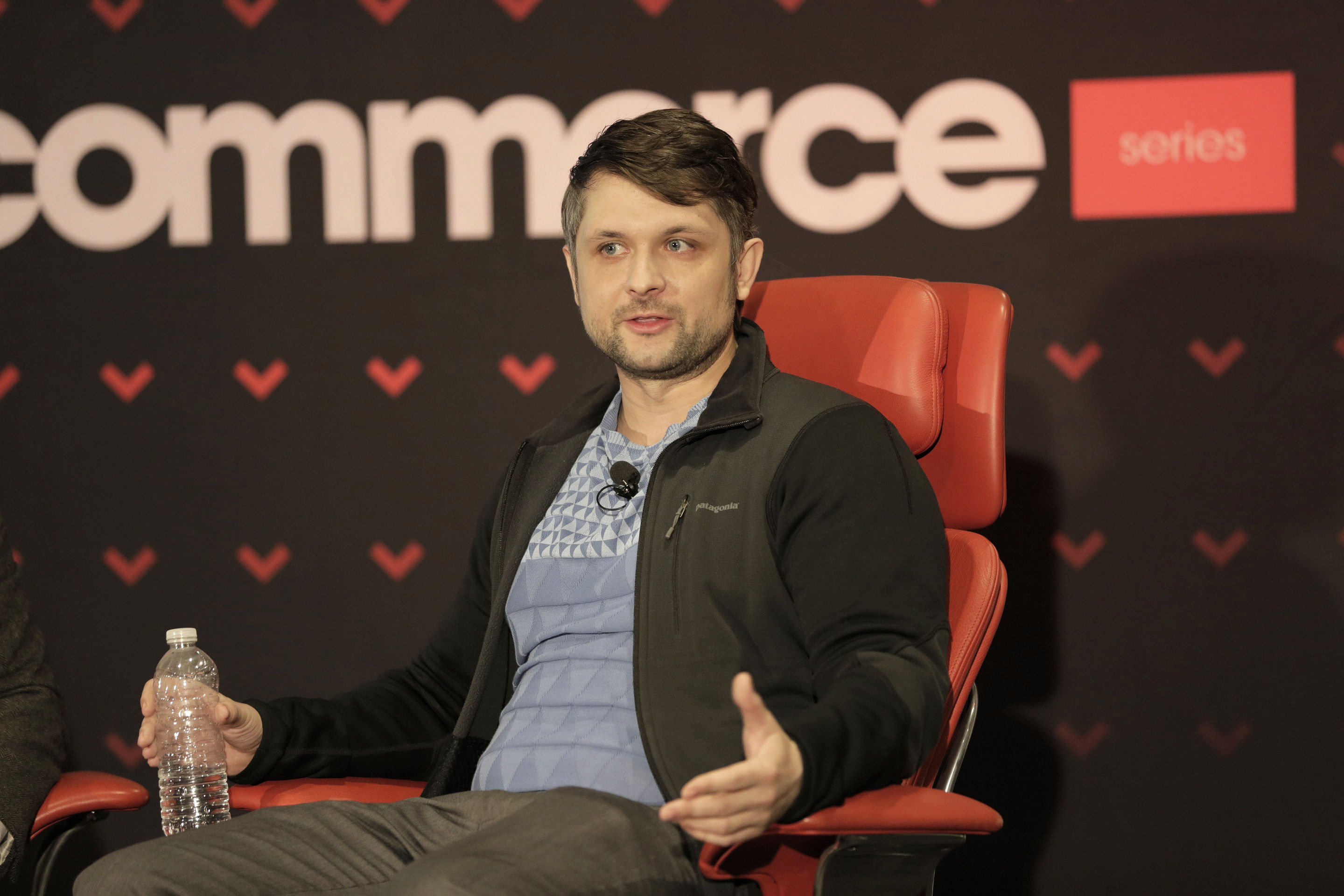 Wish CEO Peter Szulczewski onstage at a 2016 Code Commerce event in San Francisco