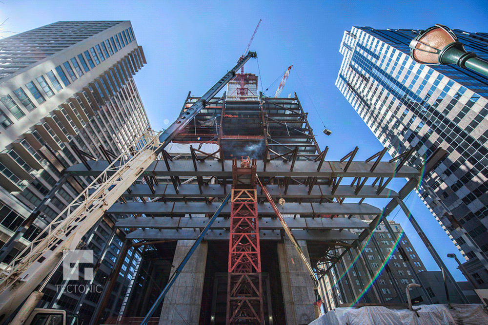 Construction photo of Comcast Tower of Innovation and Technology