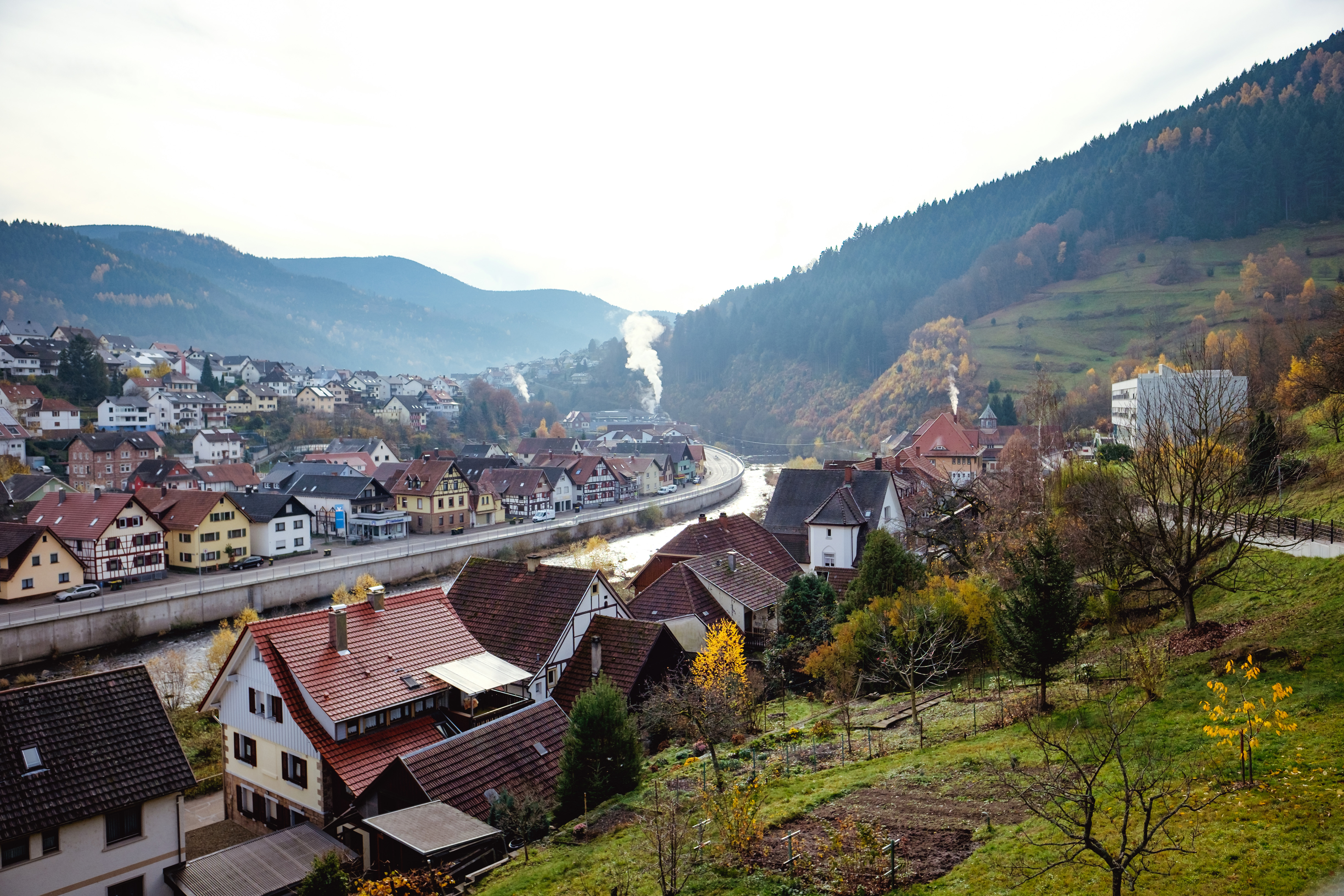 A hilltop view of Weisenbach, Germany.