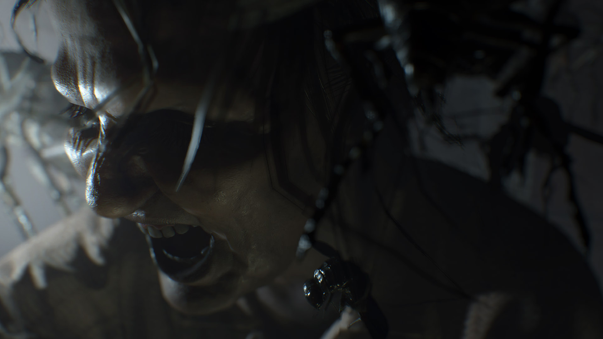 This screenshot of Resident Evil 7 features a close-up of a creepy-looking woman, laughing hysterically, surrounded on all sides by flying insects.