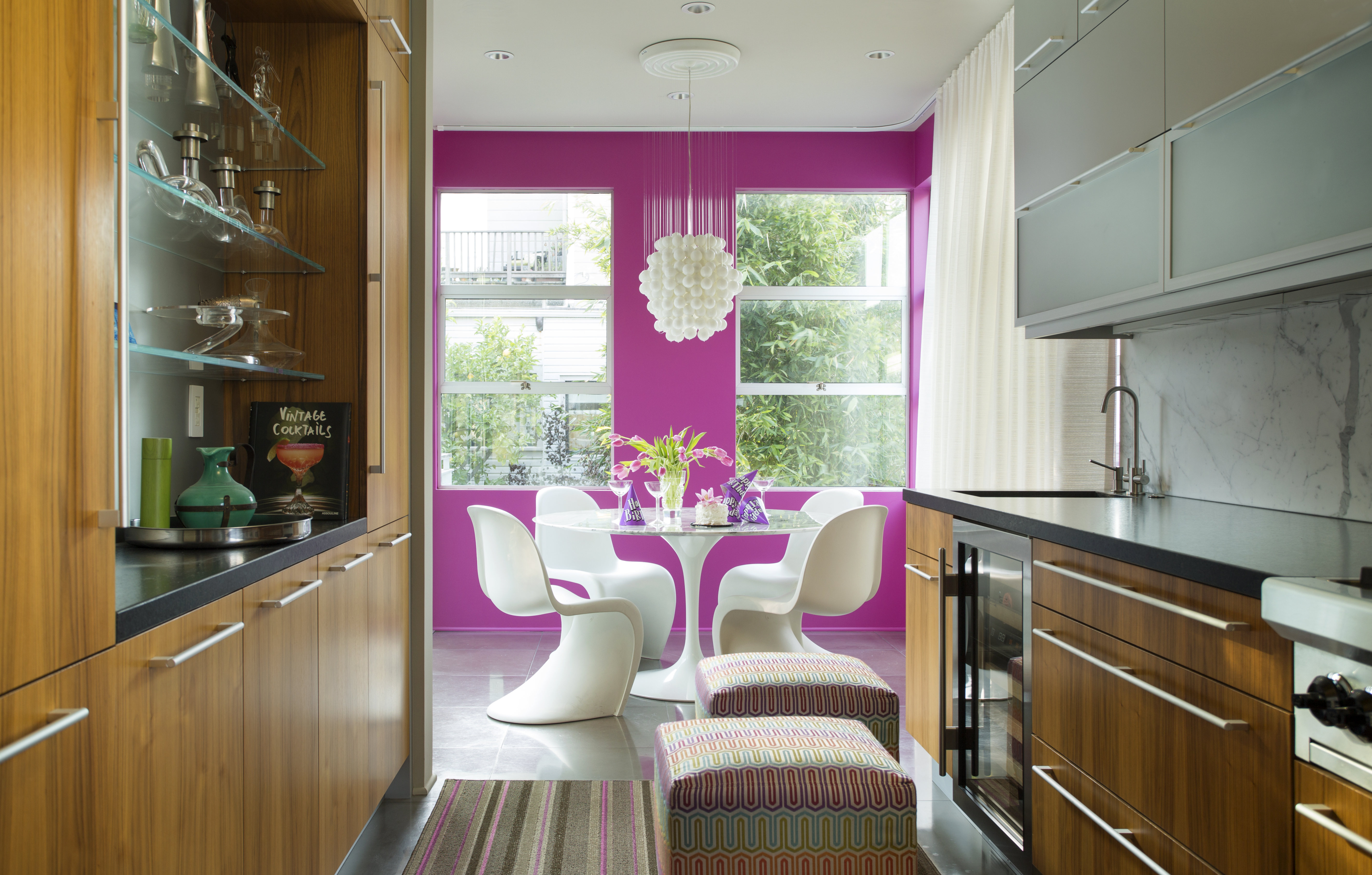 A hot pink dining room.