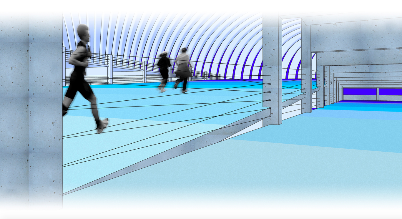 Rendering of a parking garage being used by runners.