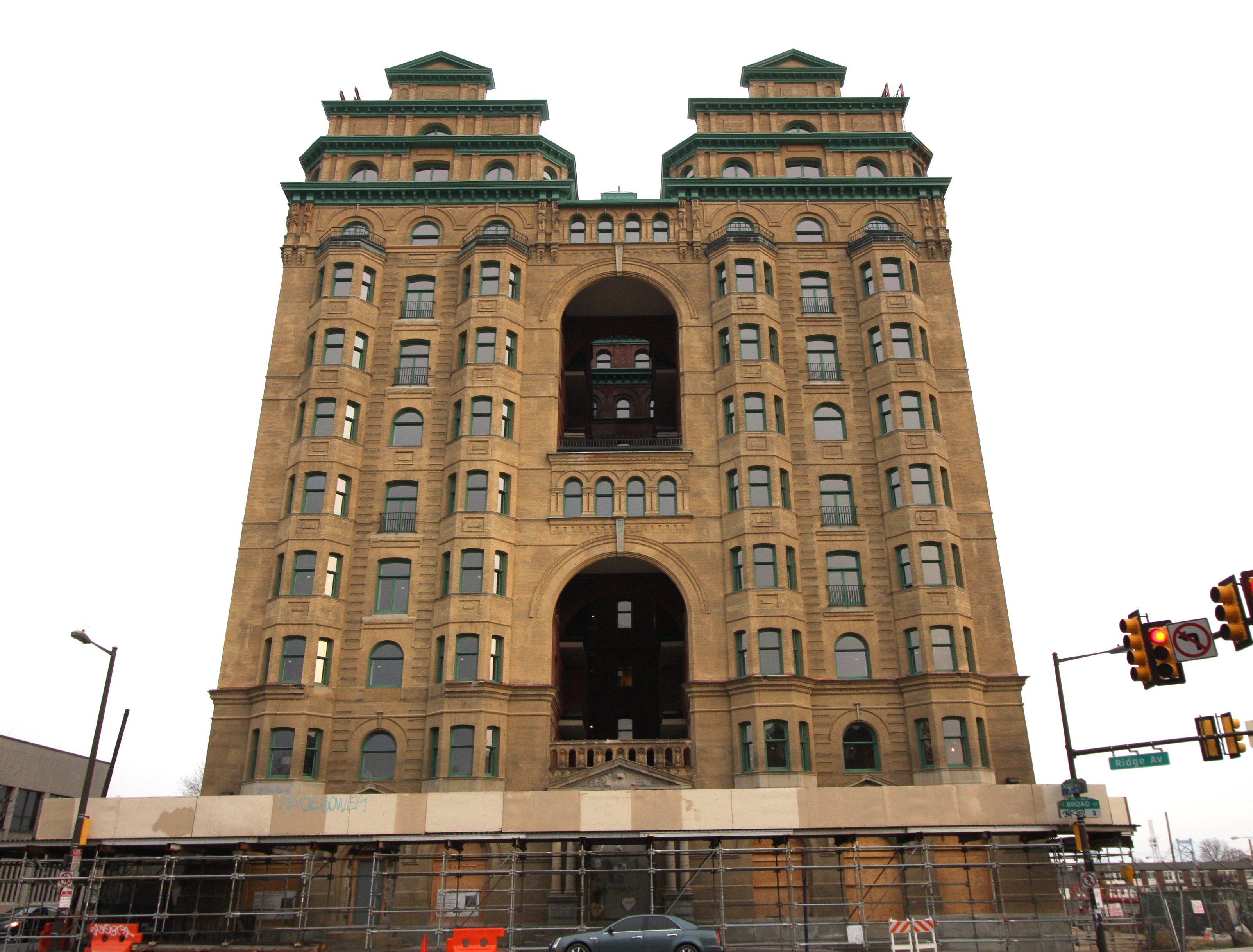 The front view of the Divine Lorraine, a historic Gilded Age building by Willis Hale.