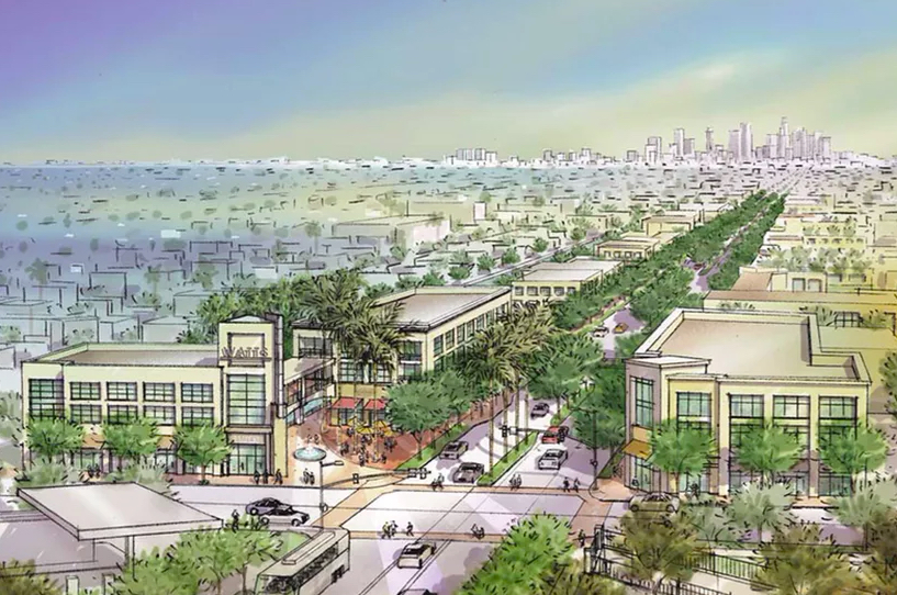 Rendering of Watts from above with tree-lined street